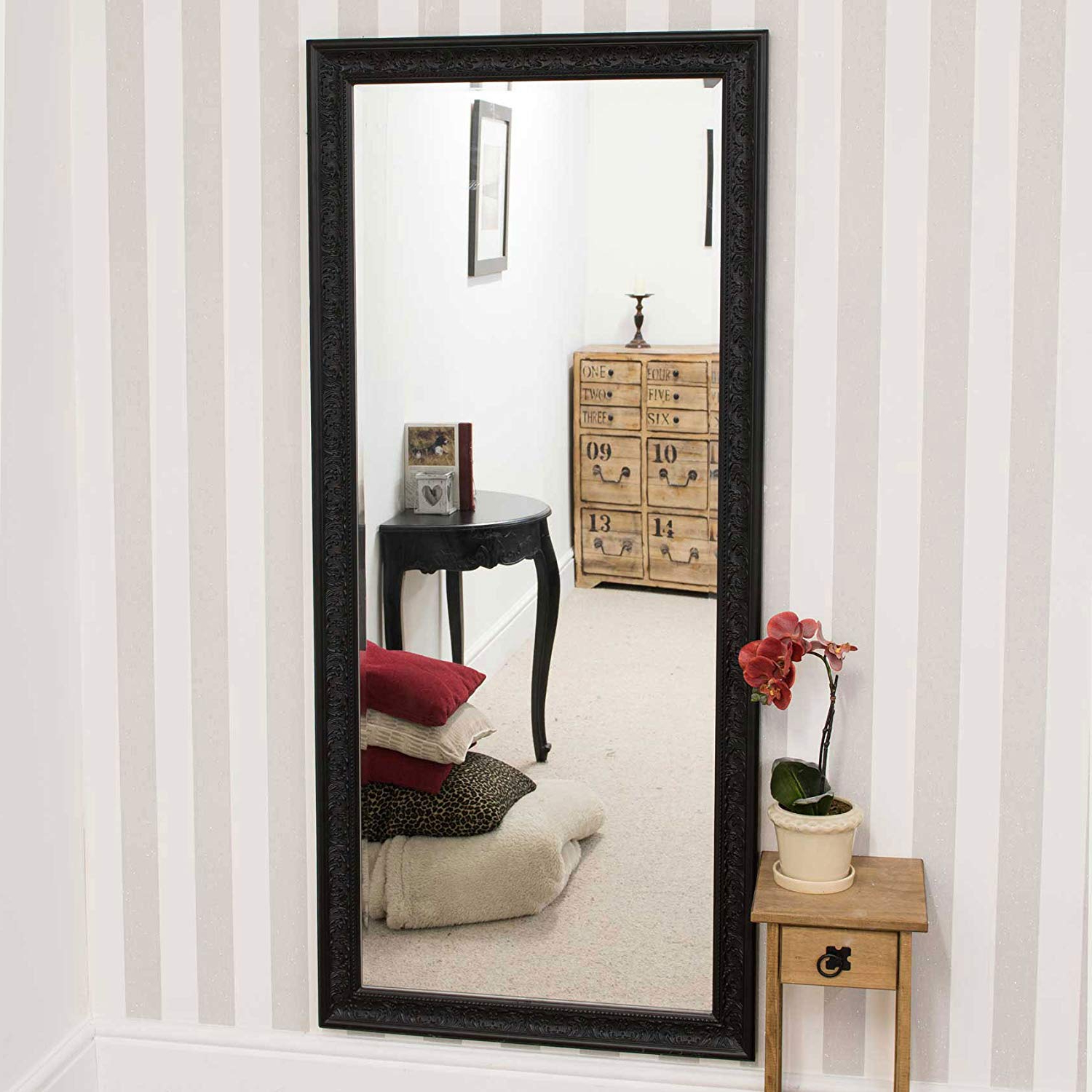 Preferred Full Length Wall Mirrors Regarding Large Antique Design Full Length Wall Mirror, Black, 160 X 73 Cm (View 12 of 20)