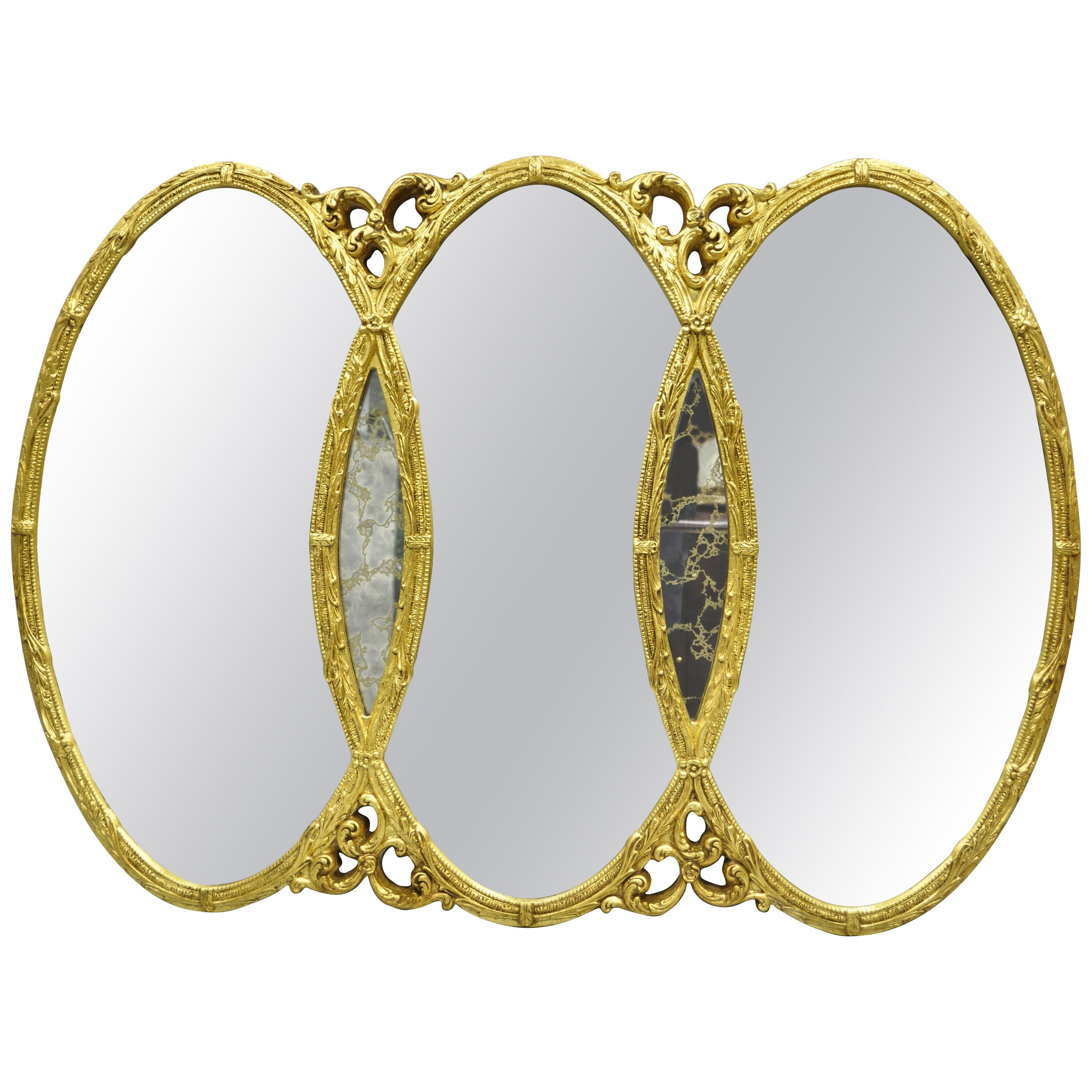 Preferred Gold French Hollywood Regency Triptych Triple Interlocking Oval Wall Mirror In Triple Oval Wall Mirrors (View 17 of 20)