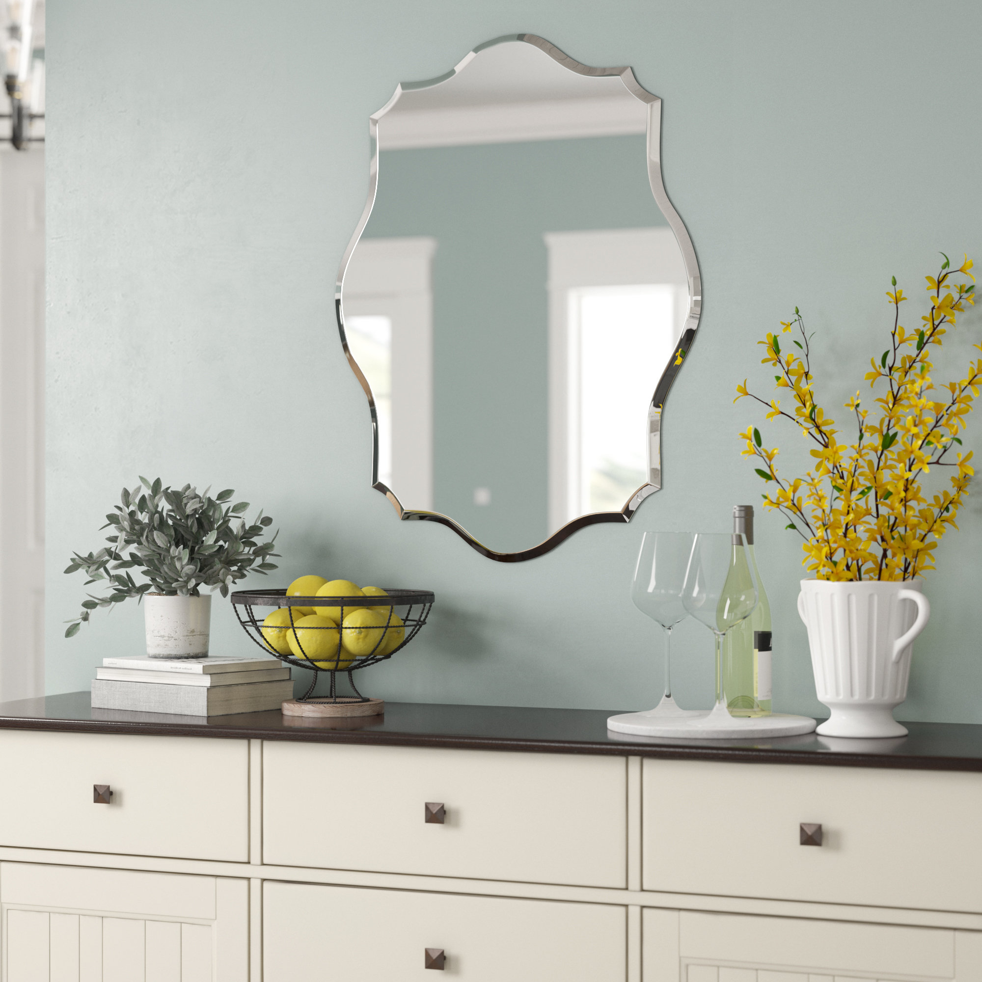 Preferred Guidinha Modern & Contemporary Accent Mirror Throughout Estefania Frameless Wall Mirrors (View 15 of 20)