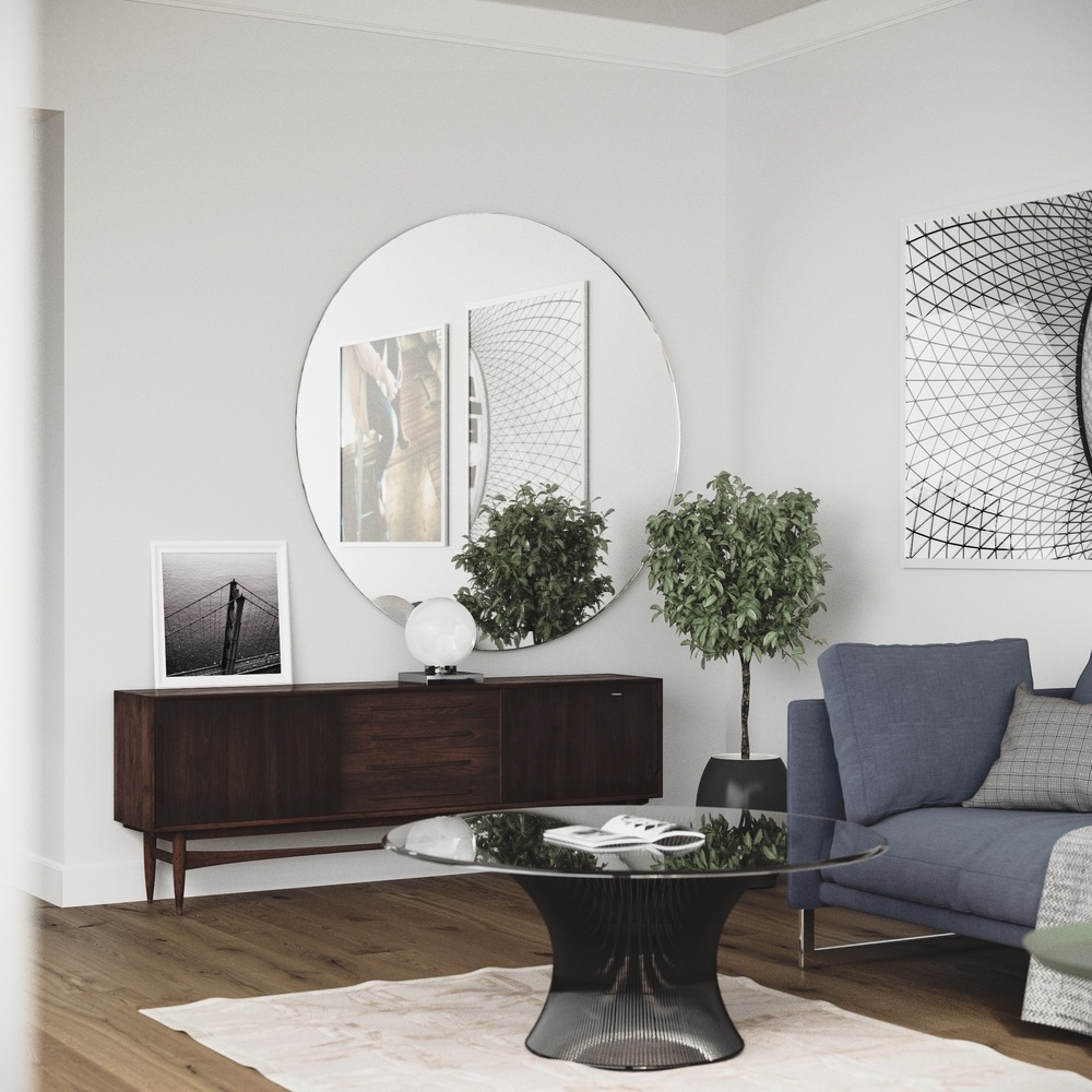 Preferred Handmade Round Mirror Hanging In Scandinavian Apartment With Frameless Round Wall Mirrors (View 16 of 20)