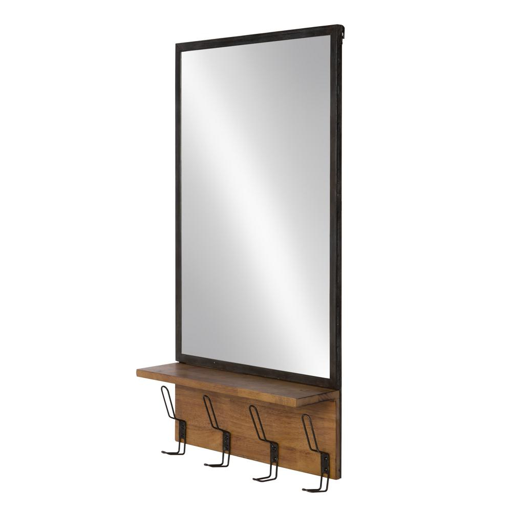 Preferred Kate And Laurel Coburn Metal Mirror With Wood Shelf And Hooks Other With Regard To Wall Mirrors With Shelf And Hooks (View 10 of 20)