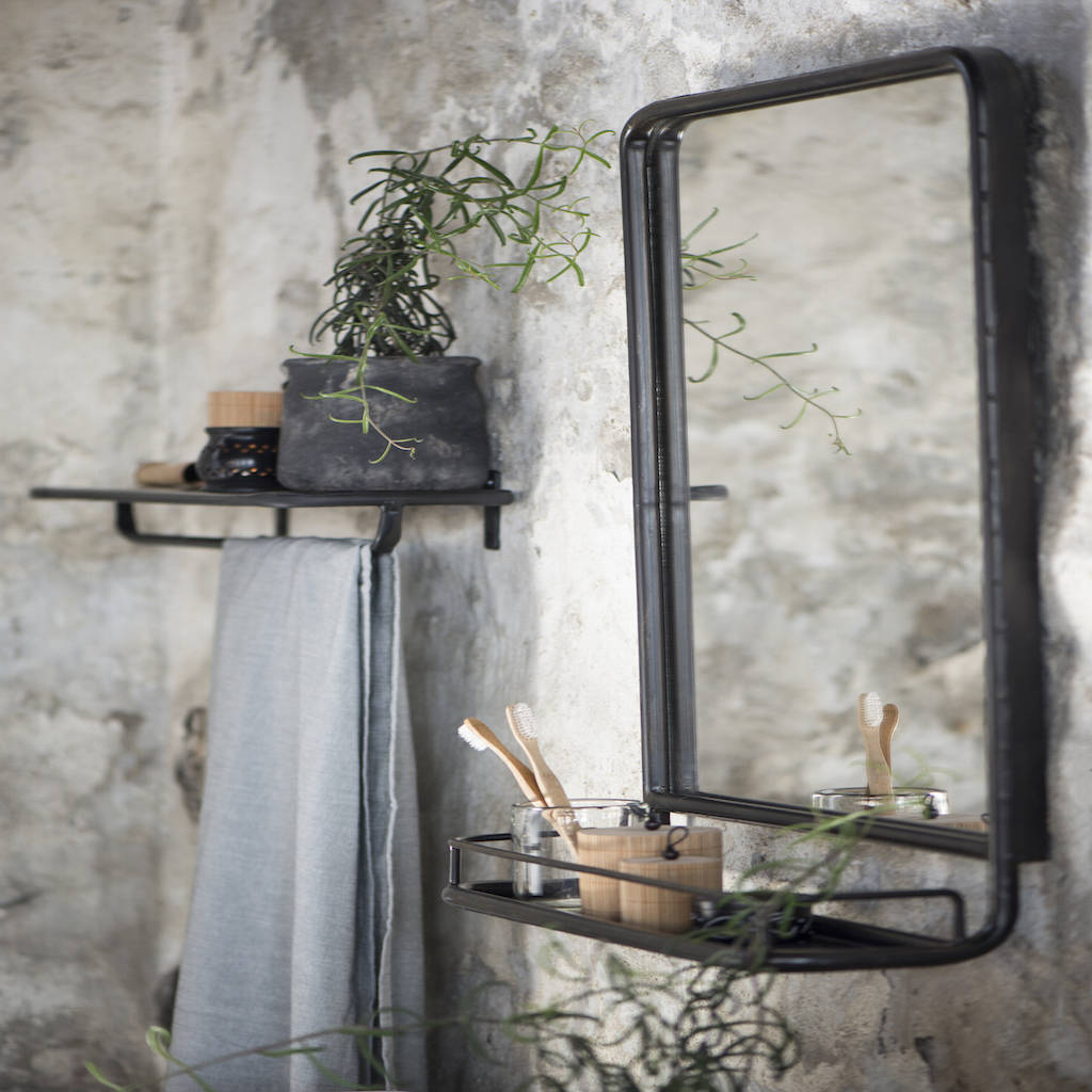 Preferred Mini Wall Mirrors With Large Industrial Wall Mirror With Mini Shelf (View 19 of 20)