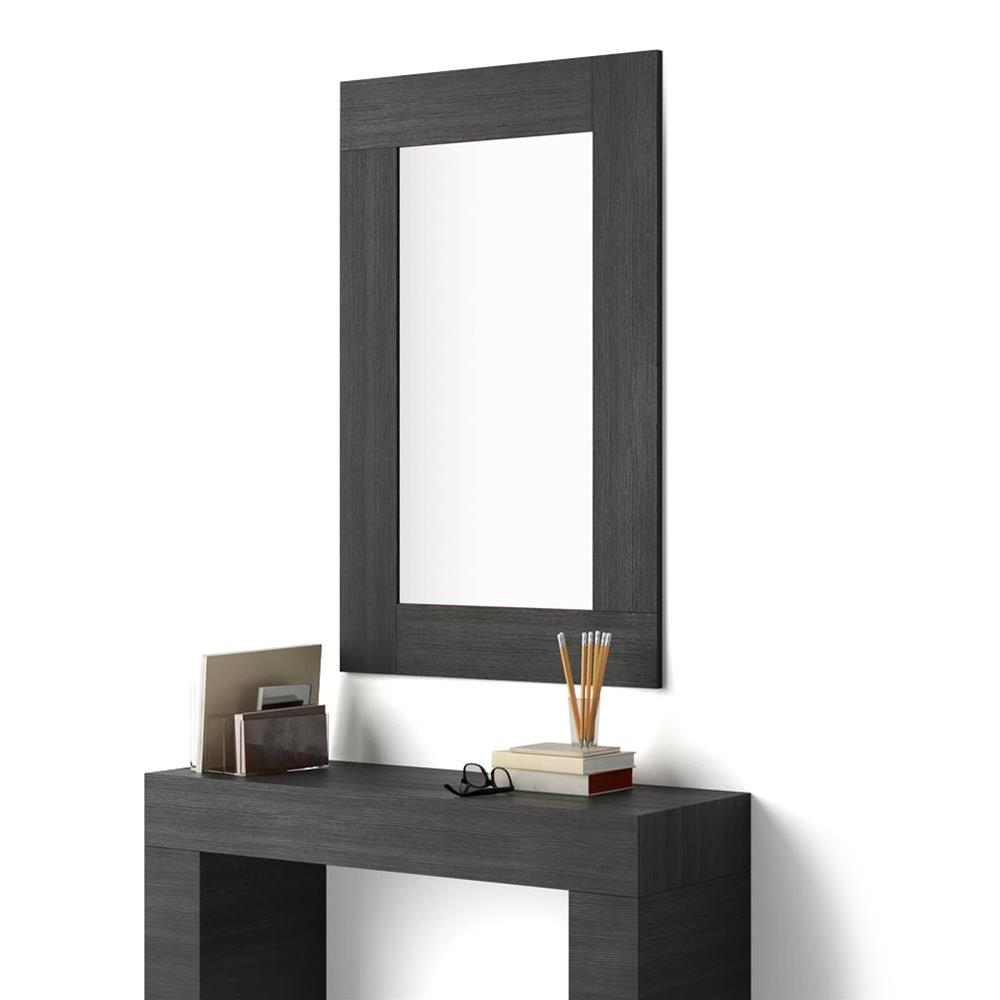 Preferred Modern Rectangular Wall Mirrors Pertaining To Rectangular Wall Mounted Mirror, Black Ash Effect Frame, Evolution (View 18 of 20)