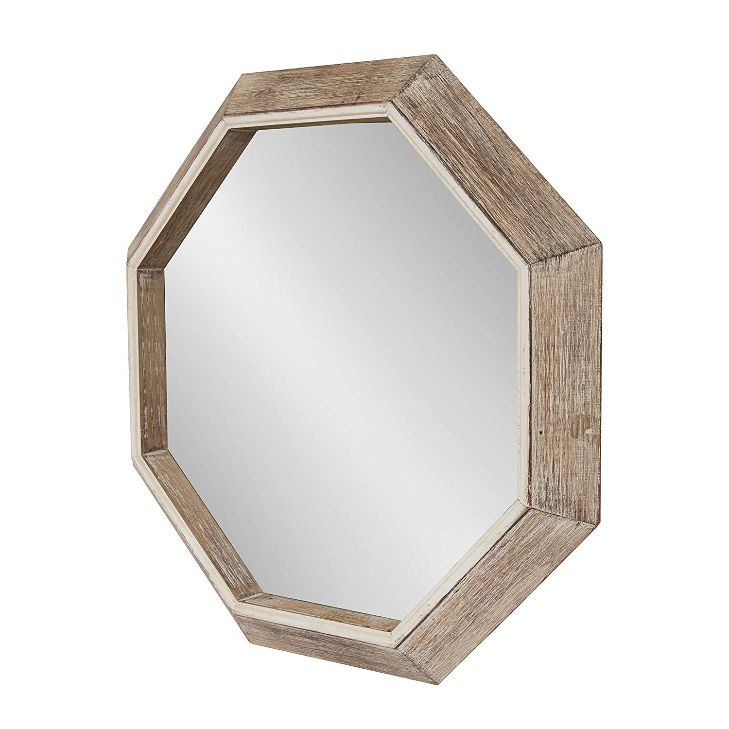 Preferred Octagon Wall Mirrors Regarding Kate And Laurel Yves Large Rustic Wooden Octagon Wall Mirror, White, 30 X (View 5 of 20)