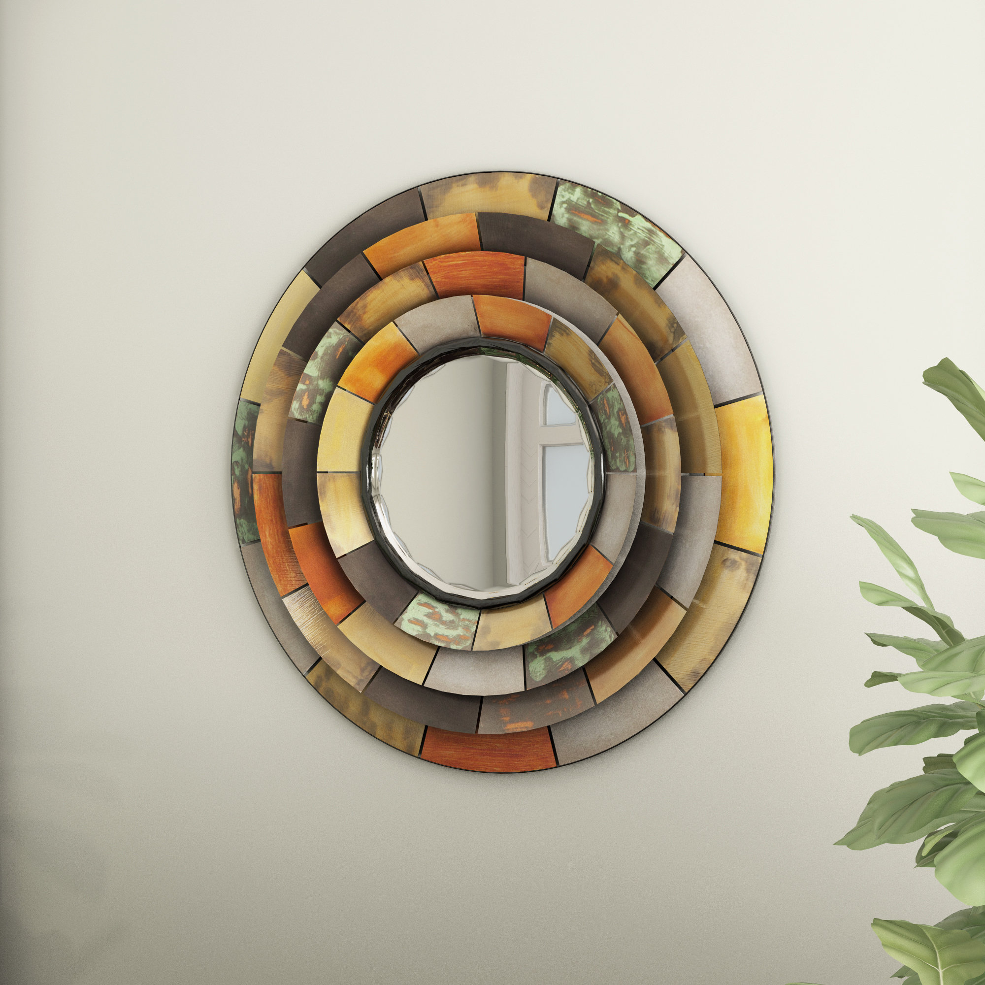 Preferred Round Galvanized Metallic Wall Mirror Intended For Hussain Tile Accent Wall Mirrors (View 13 of 20)
