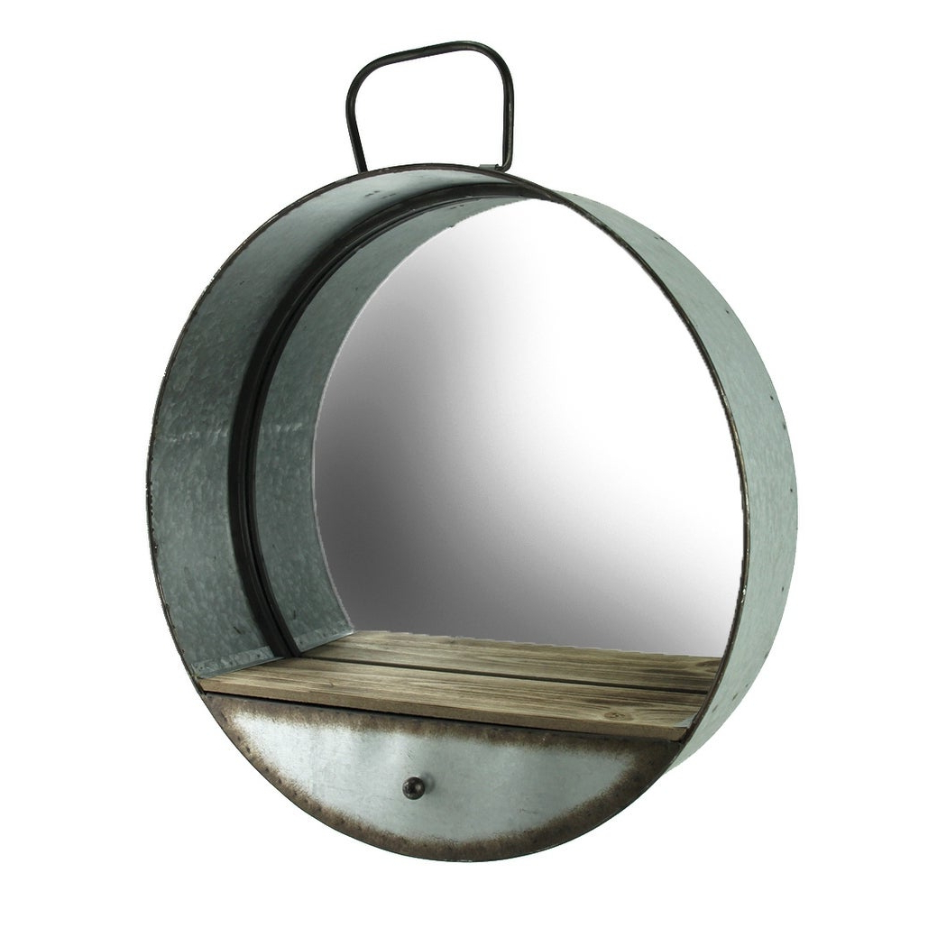 Preferred Rustic Galvanized Metal Tub Frame Round Wall Mirror With Drawer – Gray – 20.5 X (View 1 of 20)