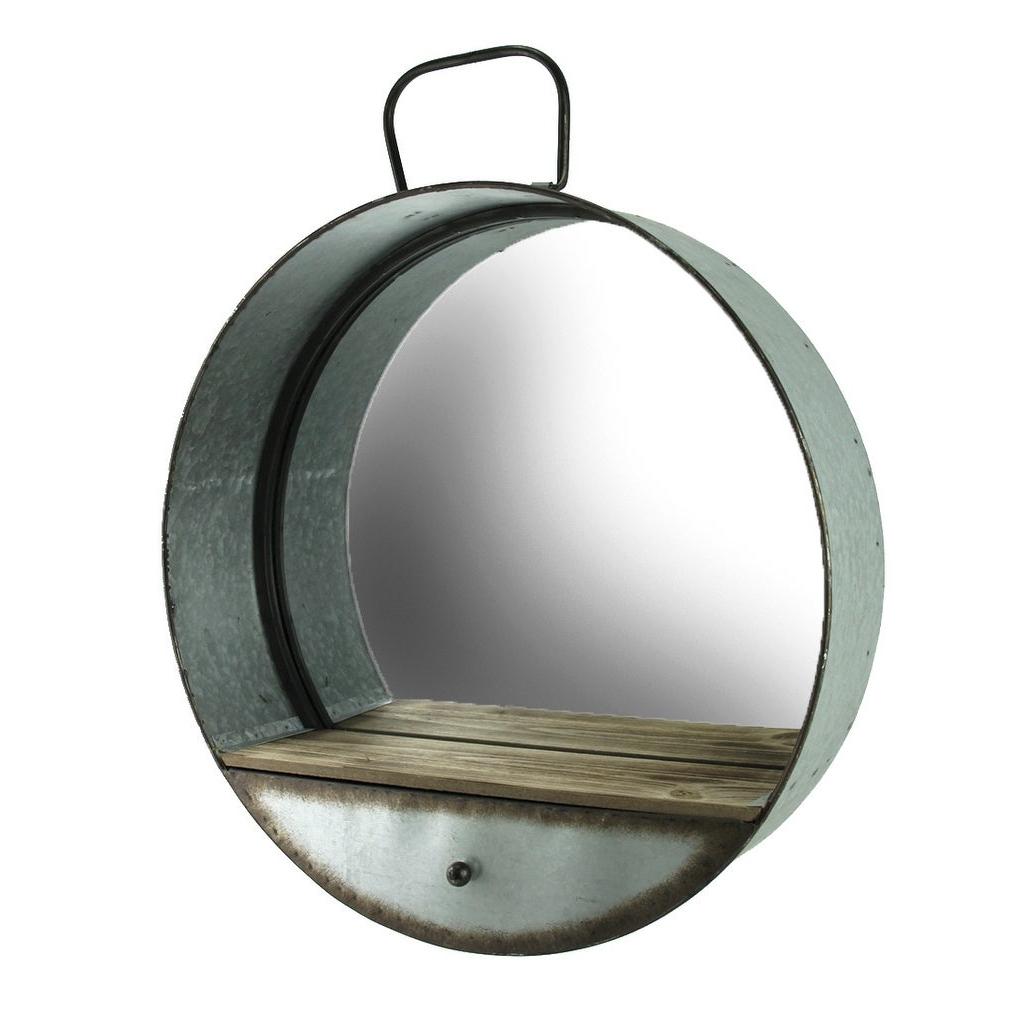 Featured Photo of Round Galvanized Metallic Wall Mirrors