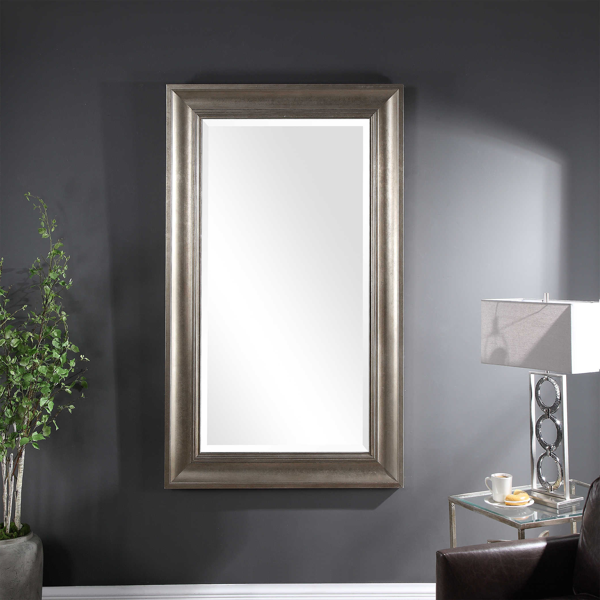 Preferred Silver Leaf Wall Mirrors Pertaining To Uttermost Palia Silver Leaf Wall Mirror (View 11 of 20)