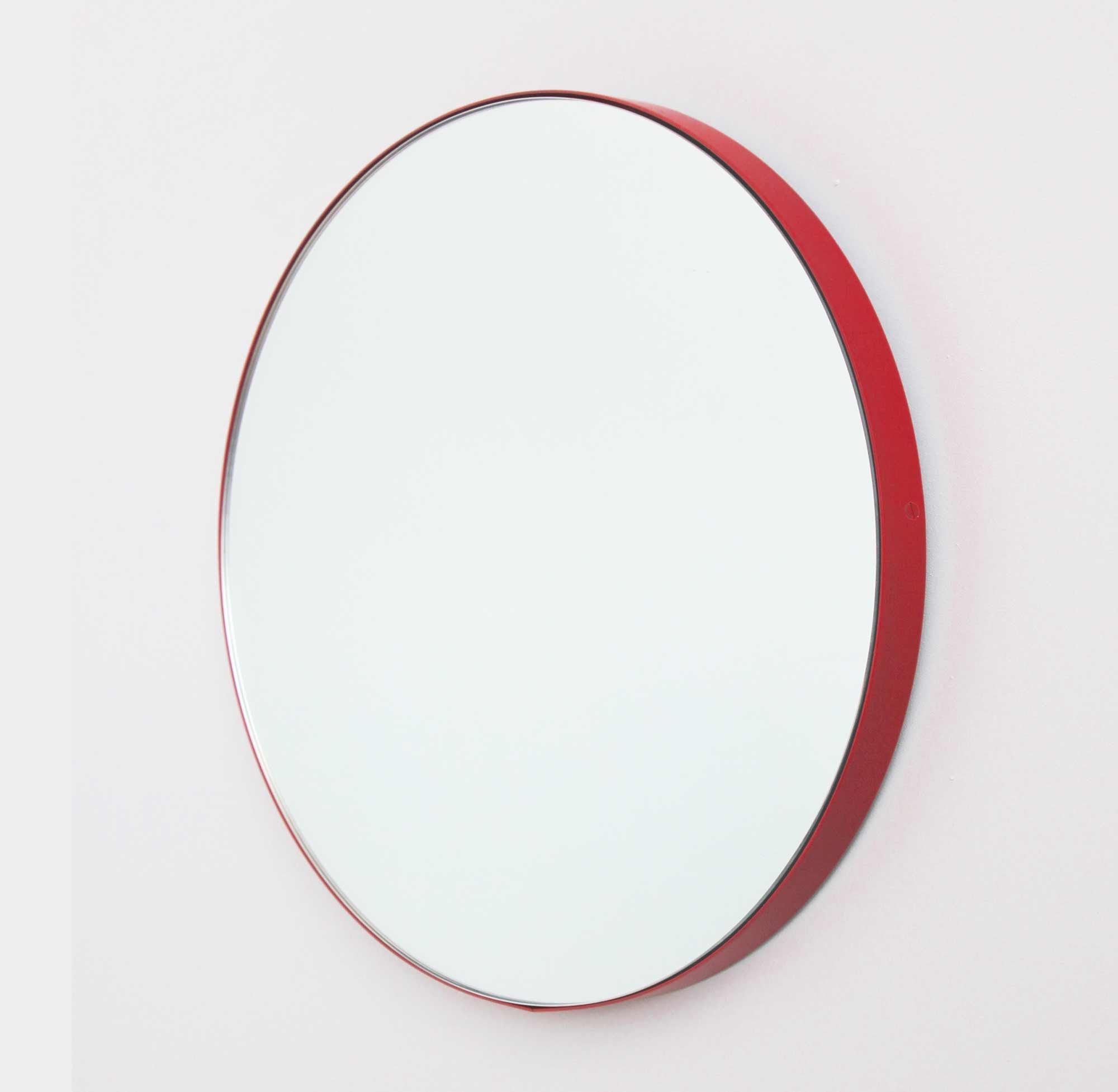 Preferred Silver Orbis Round Mirror™ With Red Framealguacil Pertaining To Red Wall Mirrors (View 10 of 20)