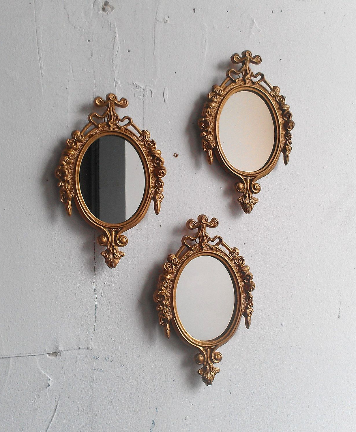 Preferred Small Decorative Wall Mirrors Inside Gold Mirror Set In Small Decorative Vintage Frames, Home (View 14 of 20)