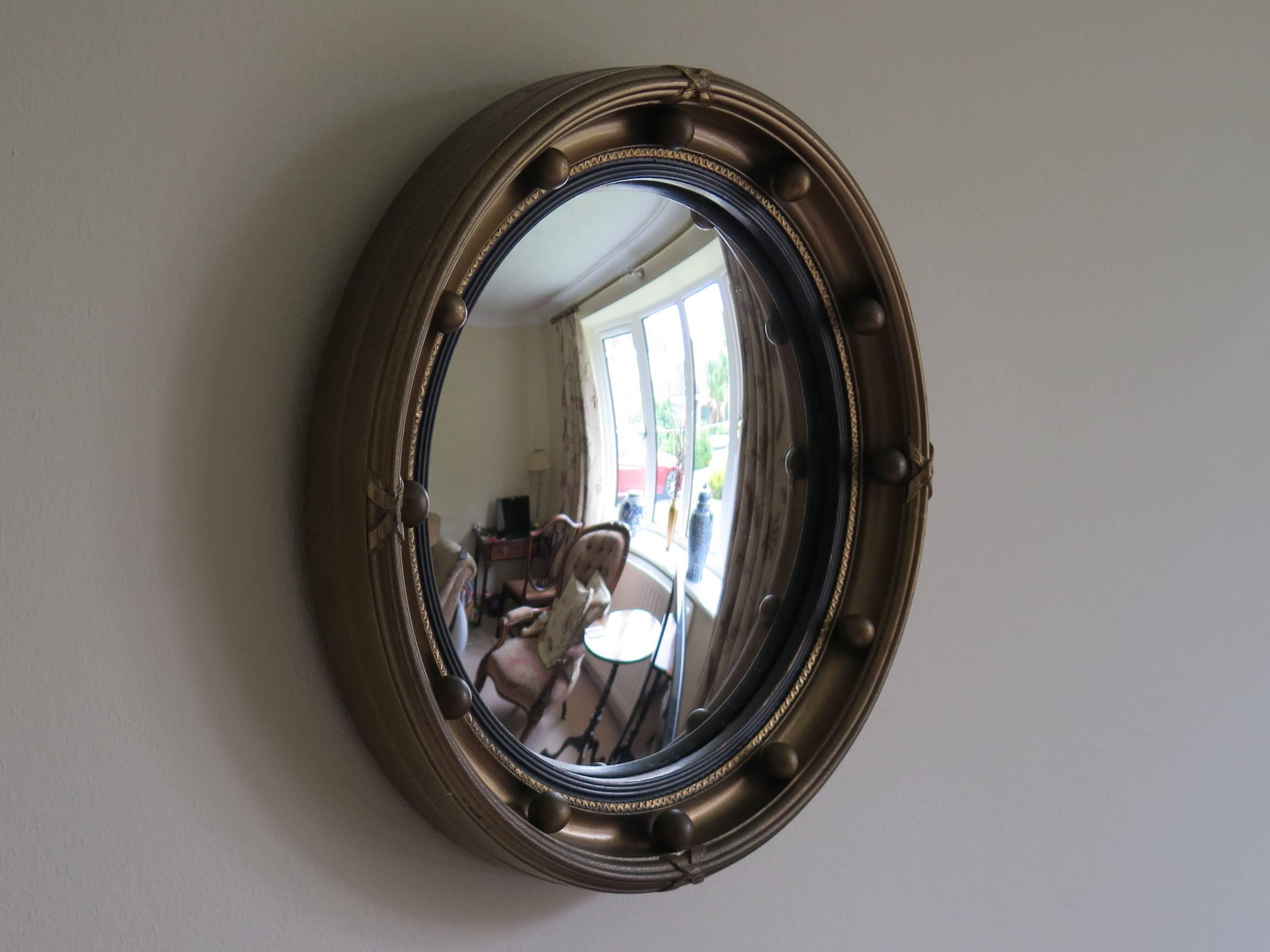 Preferred Small Round Wall Mirrors With Regard To Small Round Convex Wall Mirror, Ribbon And Ball Detail, Regency Style, Ca  1930 (Gallery 19 of 20)