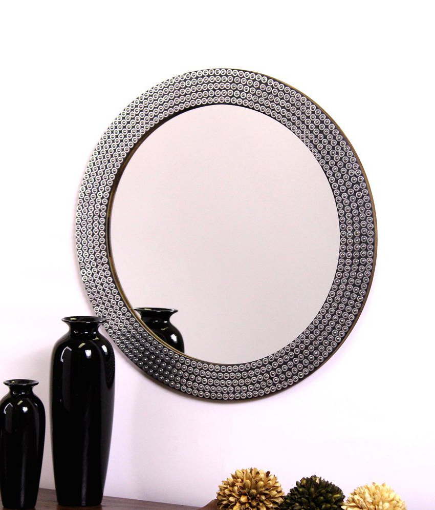 Preferred Studded Wall Mirrors Within Hosley Decorative Metal Studded Round Wall Mirror (View 10 of 20)