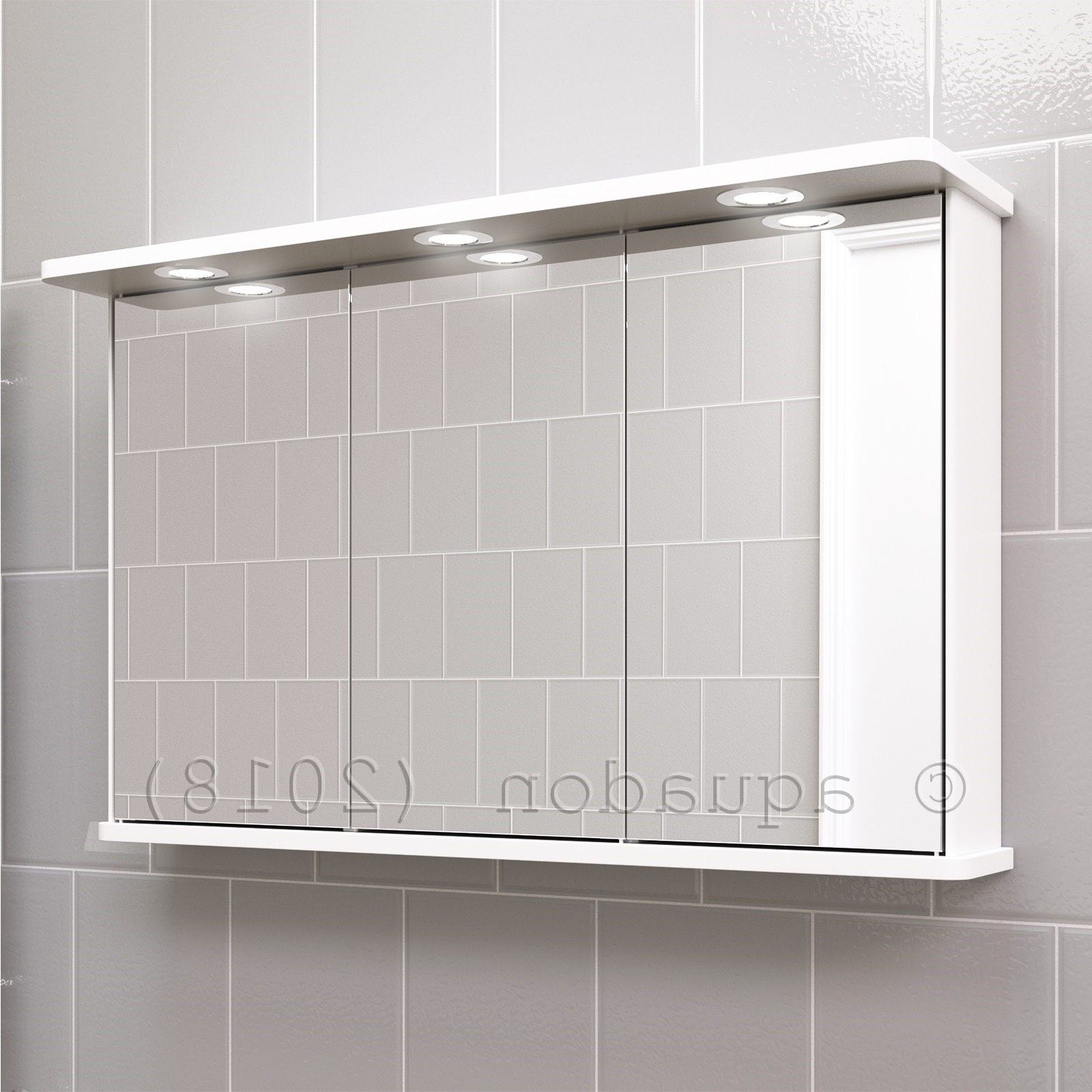 Preferred Triple Wall Mirrors With Regard To Details About Bathroom Wall Mirror Triple Door Cabinet White 1000  Illuminated Shaver Socket (View 12 of 20)