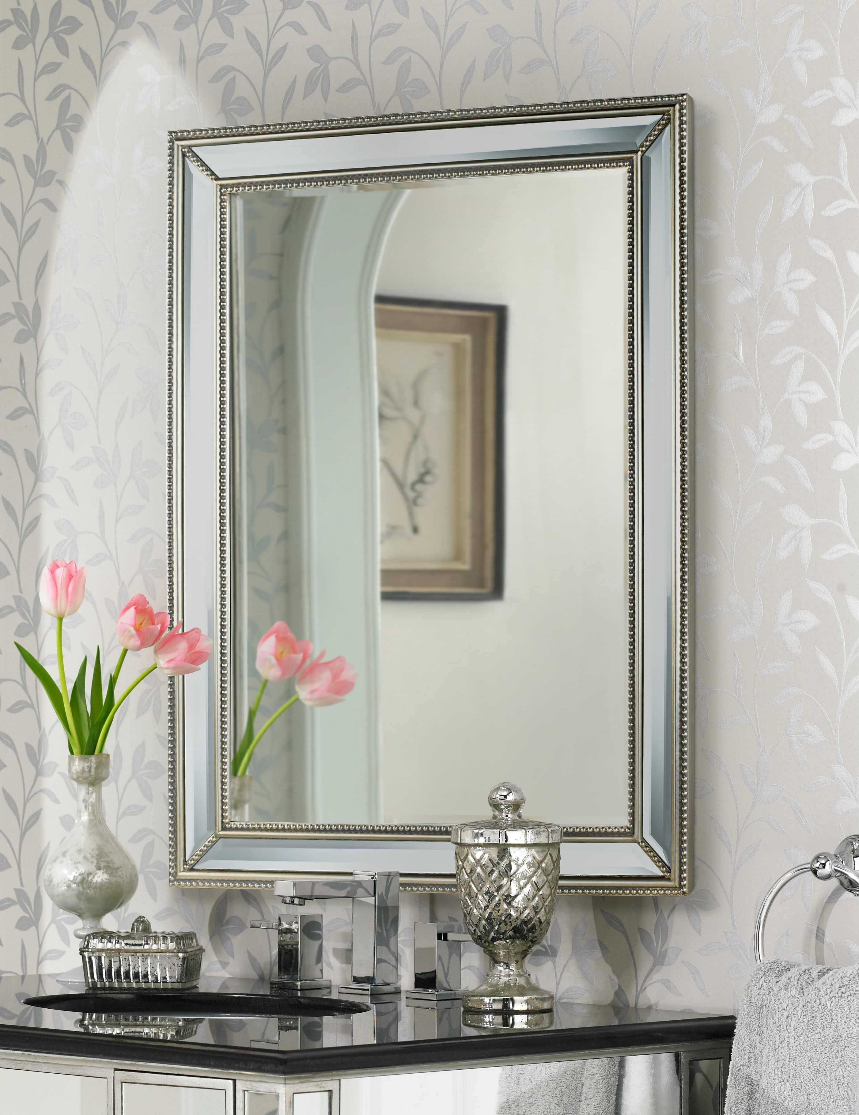 "Preferred Uttermost Palais Beaded 30"" X 40"" Silver Wall Mirror – #6d394 Pertaining To Ansgar Accent Mirrors (View 19 of 20)"