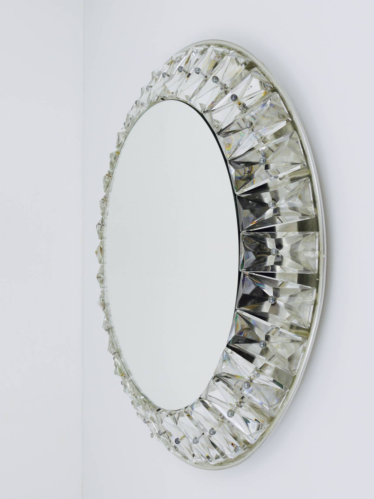 Preferred Wall Mirrors With Crystals Inside Big Round Bakalowits Backlit Wall Mirror With Huge Crystals, Austria 1950s (View 12 of 20)
