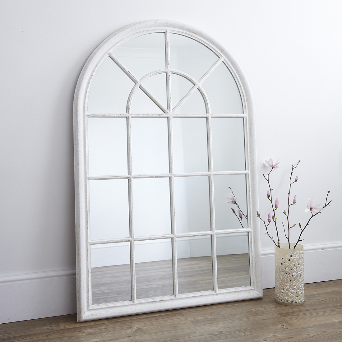 Preferred White Arched Window Wall Mirror With Regard To Distressed White Wall Mirrors (Gallery 12 of 20)