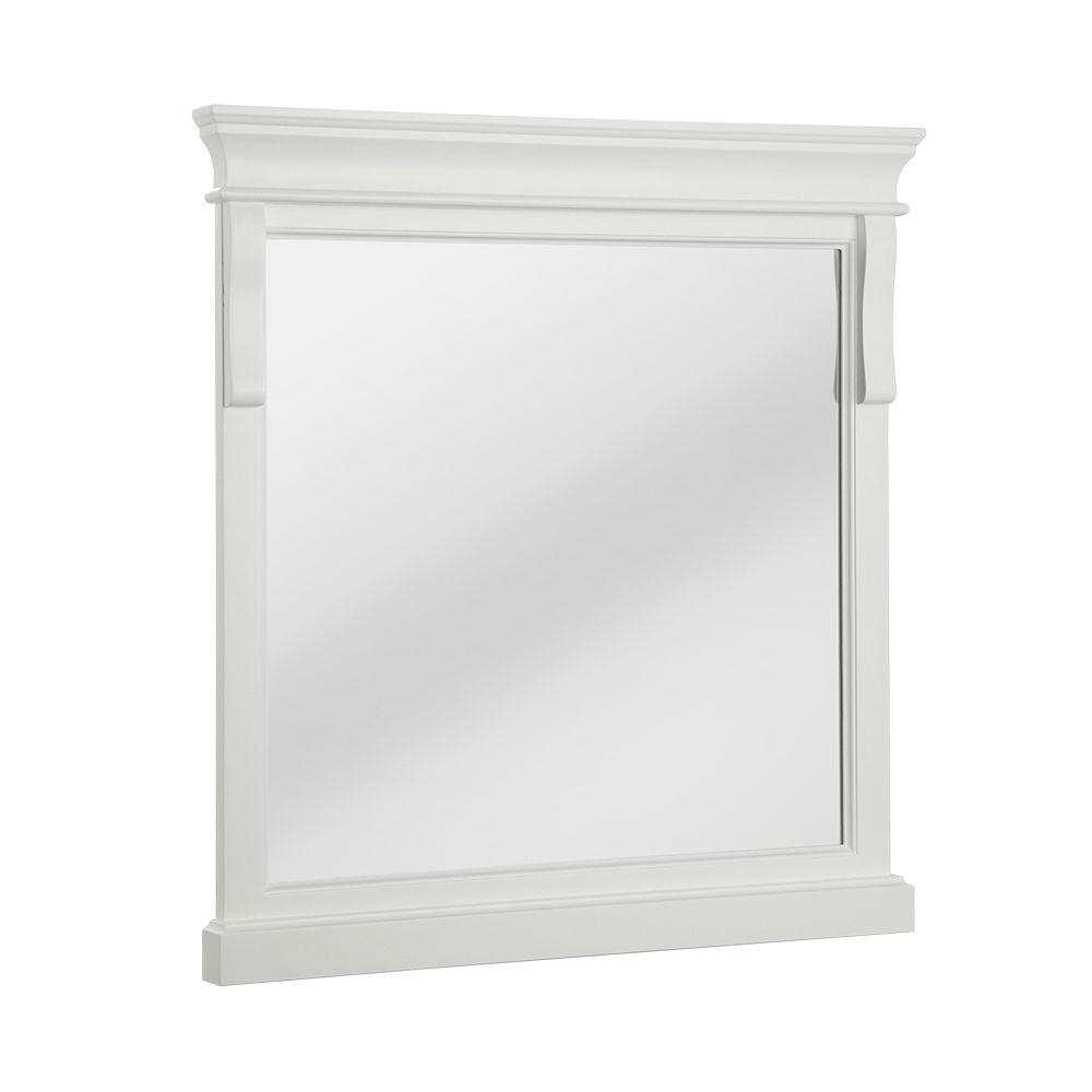 Preferred White Framed Wall Mirrors With Regard To Home Decorators Collection Naples 30 In. X 32 In (View 3 of 20)