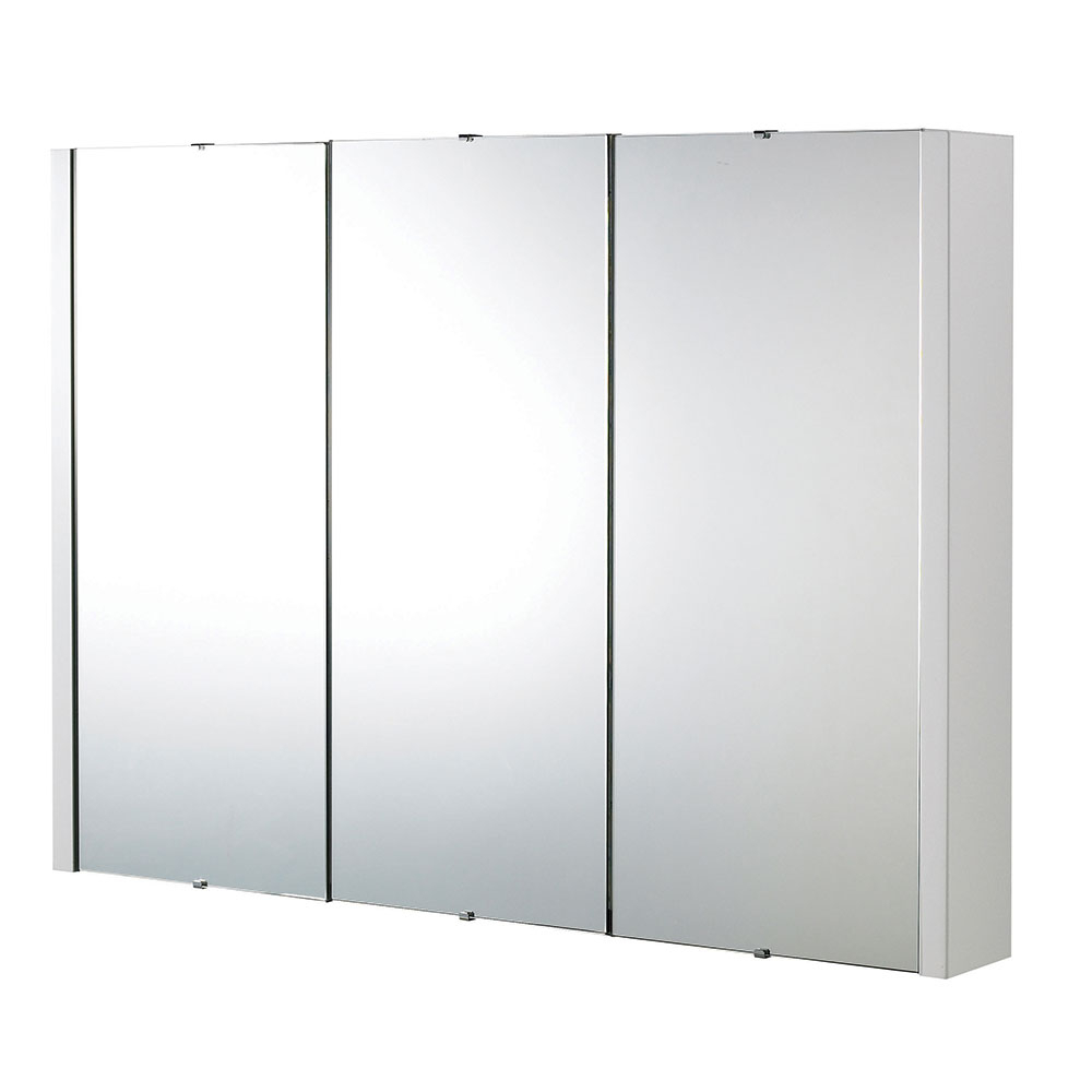 Premier Lux 3 Door Mirrored Bathroom Cabinet 900Mm Wide White With Well Known Bathroom Wall Mirror Cabinets (View 15 of 20)