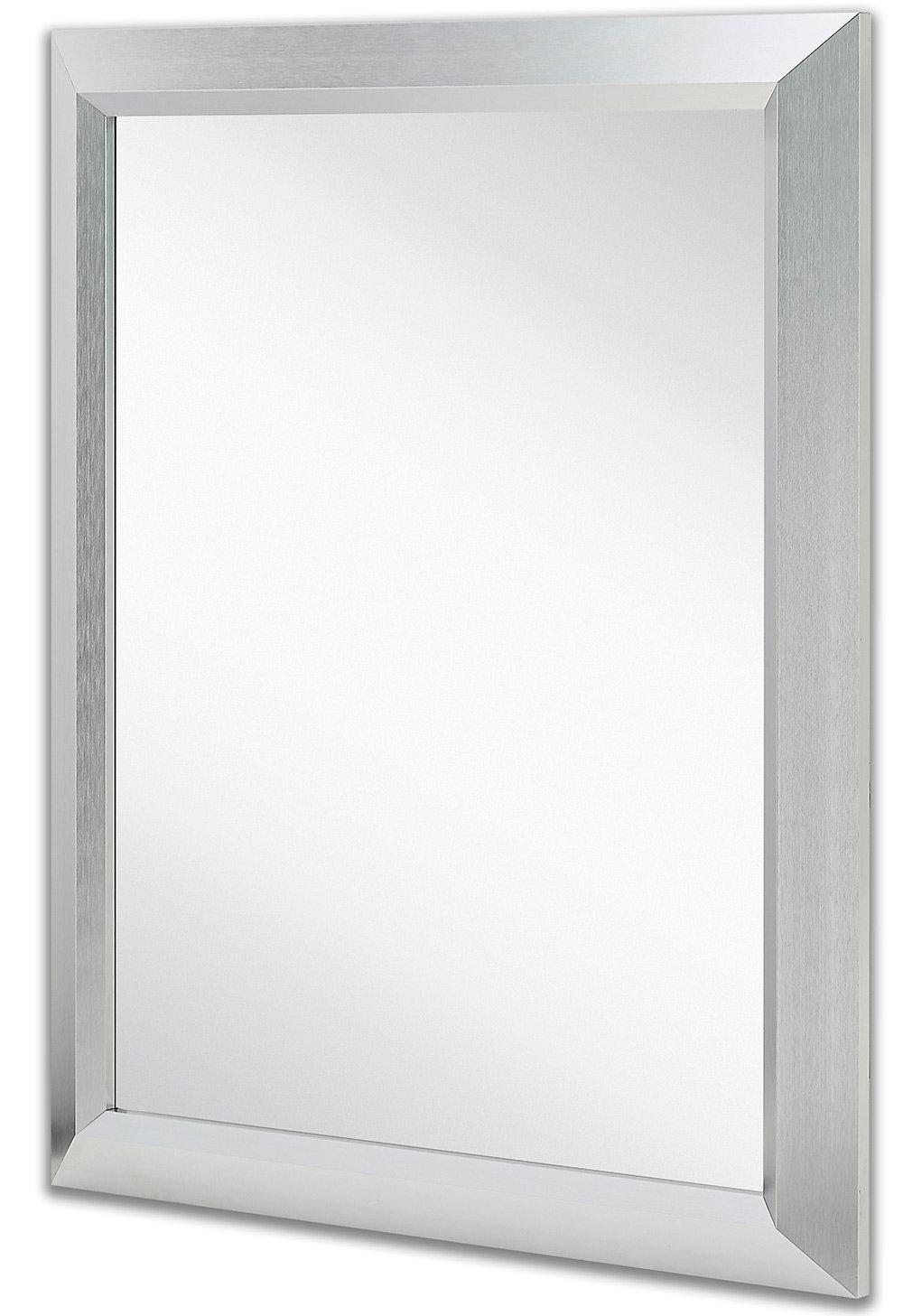 Premium Rectangular Brushed Aluminum Wall Mirror (View 2 of 20)
