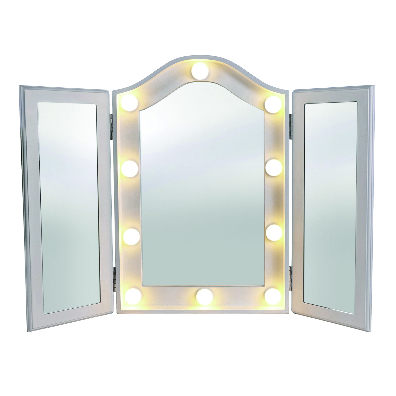Princess Led Vanity Trifold Mirror 079850 Regarding Most Current Tri Fold Wall Mirrors (View 11 of 20)