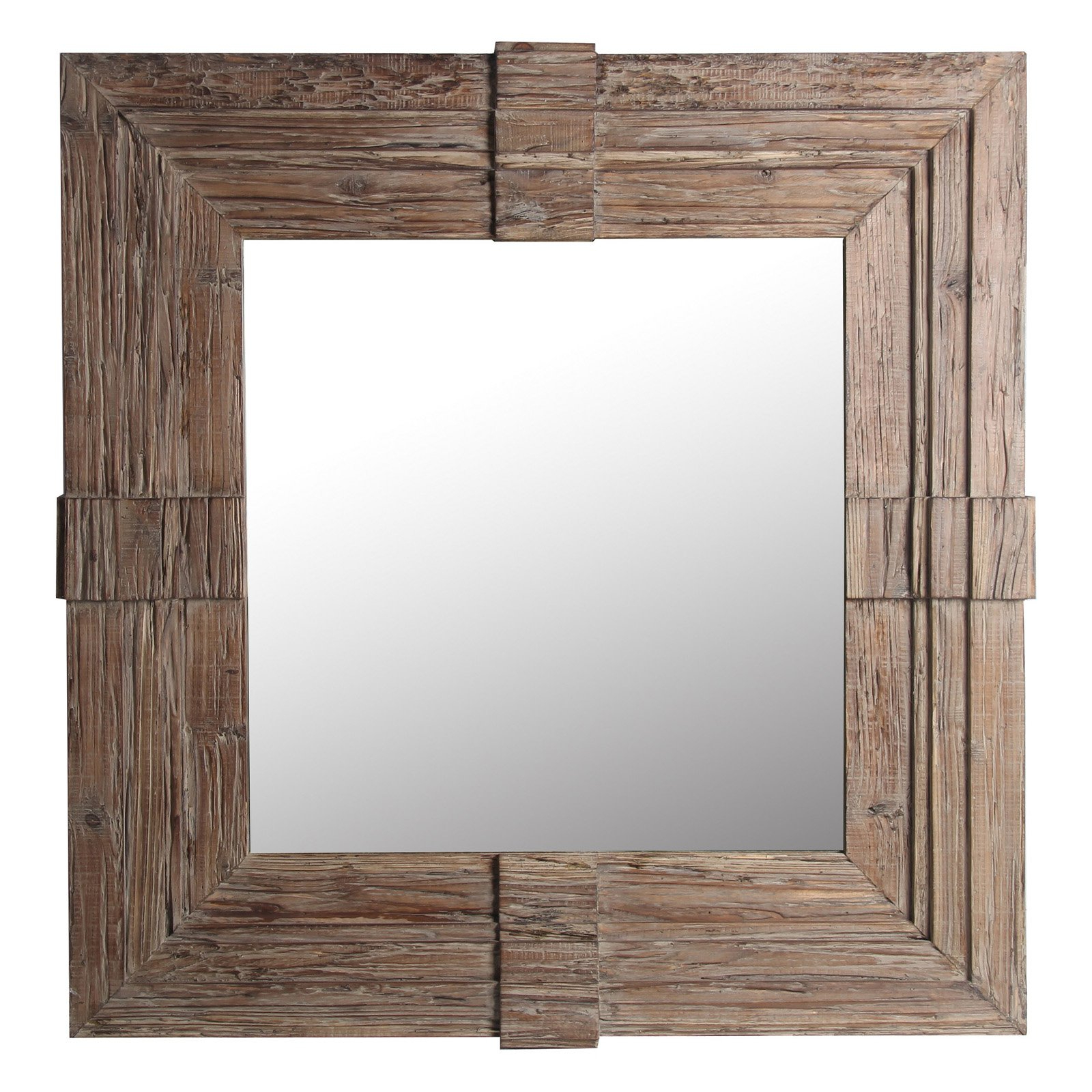 Privilege International Square Wood Traditional Wall Mirror With With Regard To Most Popular Traditional Square Glass Wall Mirrors (Gallery 10 of 20)