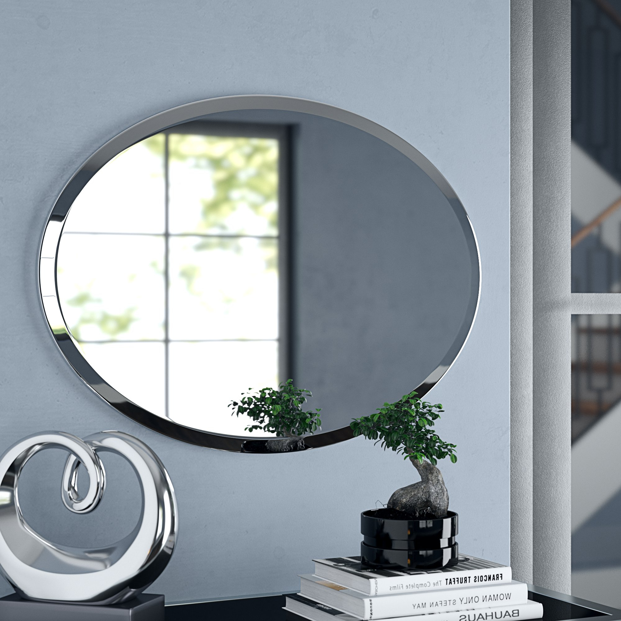 Provenzano Frameless Beveled Oval Wall Mirror With Regard To Well Liked Thornbury Oval Bevel Frameless Wall Mirrors (View 10 of 20)