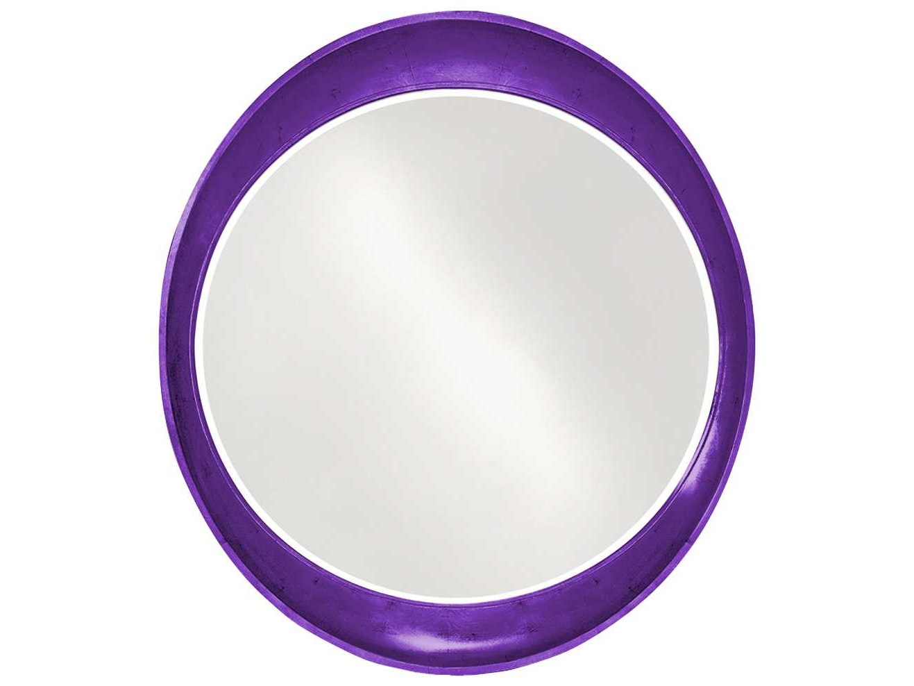 Purple Wall Mirrors For Most Recent Howard Elliott Ellipse 35 X 39 Oval Glossy Royal Purple Wall Mirror (View 9 of 20)