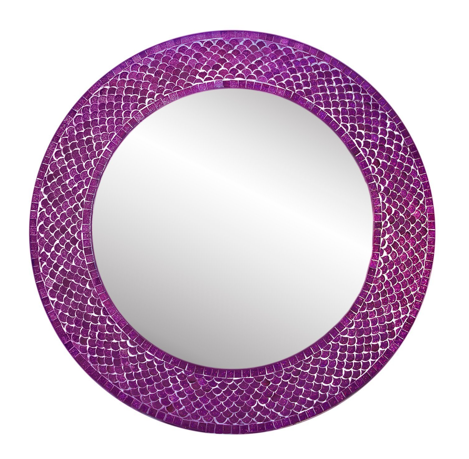 Purple Wall Mirrors For Most Recent Trend Shimmering Mermaid Glass Mosaic Tile Wall Mirror (View 10 of 20)
