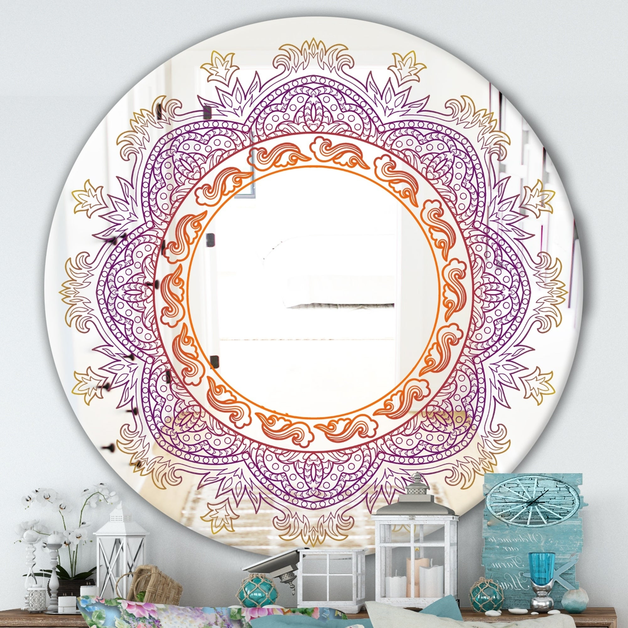 Purple Wall Mirrors Intended For Recent Designart 'purple And Orange Mandala' Purple Round Traditional Wall Mirror (View 14 of 20)