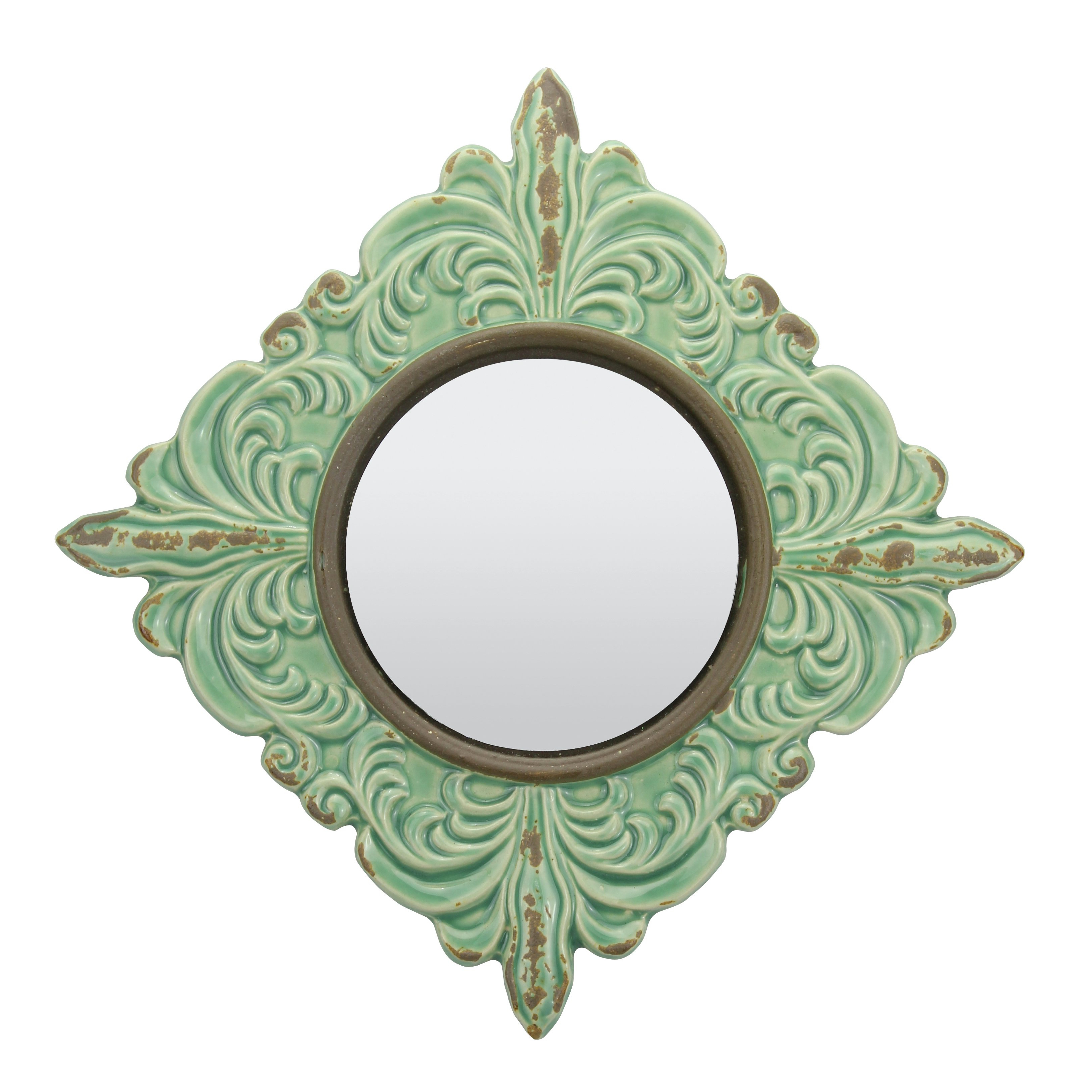 Rashmare Worn Ceramic Traditional Distressed Wall Mirror In Turquoise With Recent Distressed Wall Mirrors (View 17 of 20)