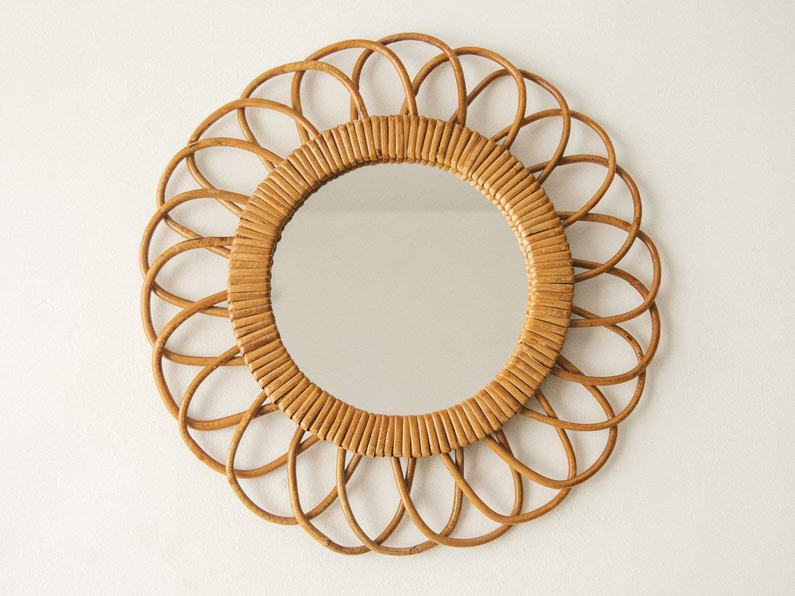 Rattan Wall Mirrors Throughout Latest Amazon: Sunburst Mirror, Rattan Mirror, Decorative Mirror, Round (Gallery 12 of 20)