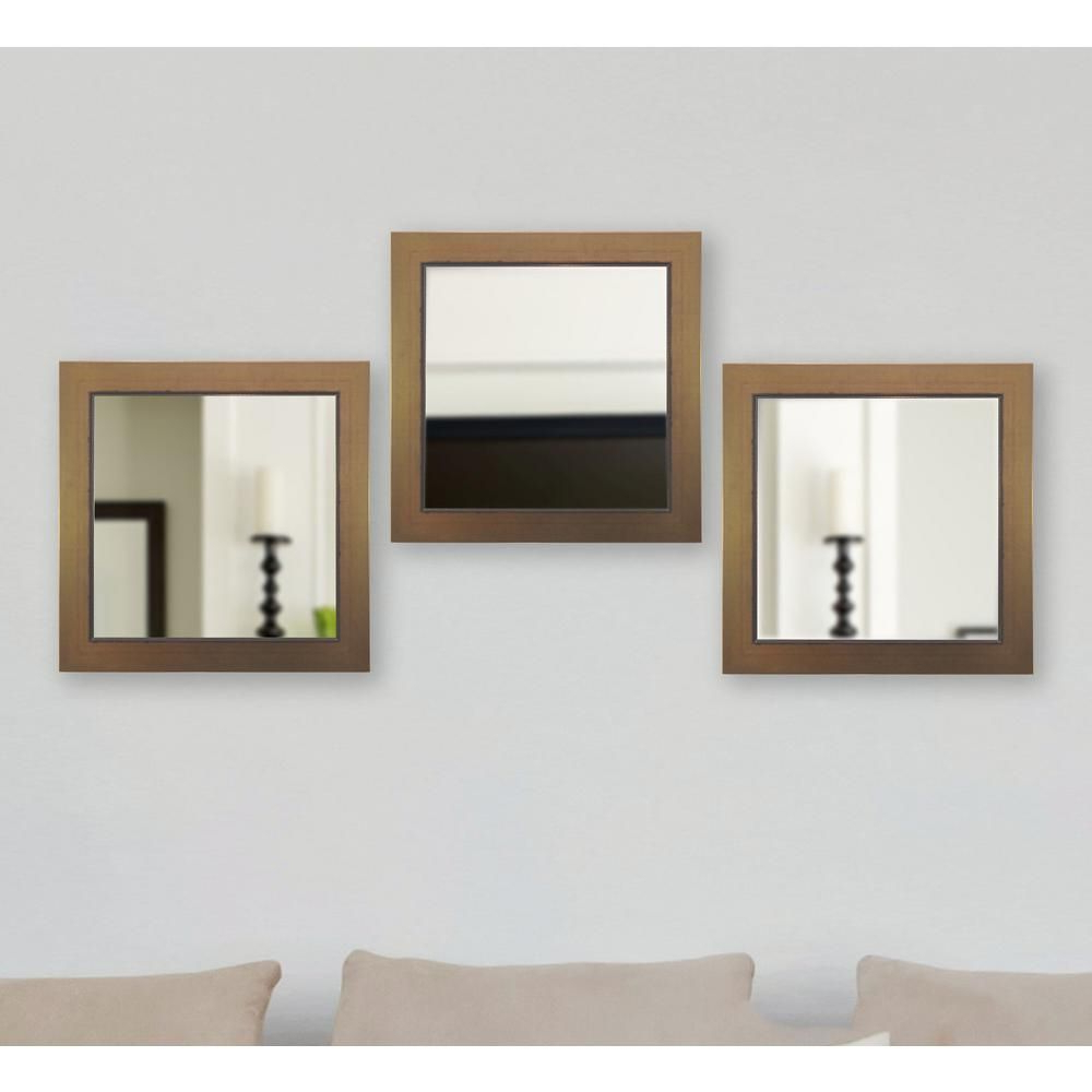 Rayne Mirrors Golden Lowe Square Non Beveled Vanity Mirror Within Well Liked Square Wall Mirror Sets (Gallery 4 of 20)