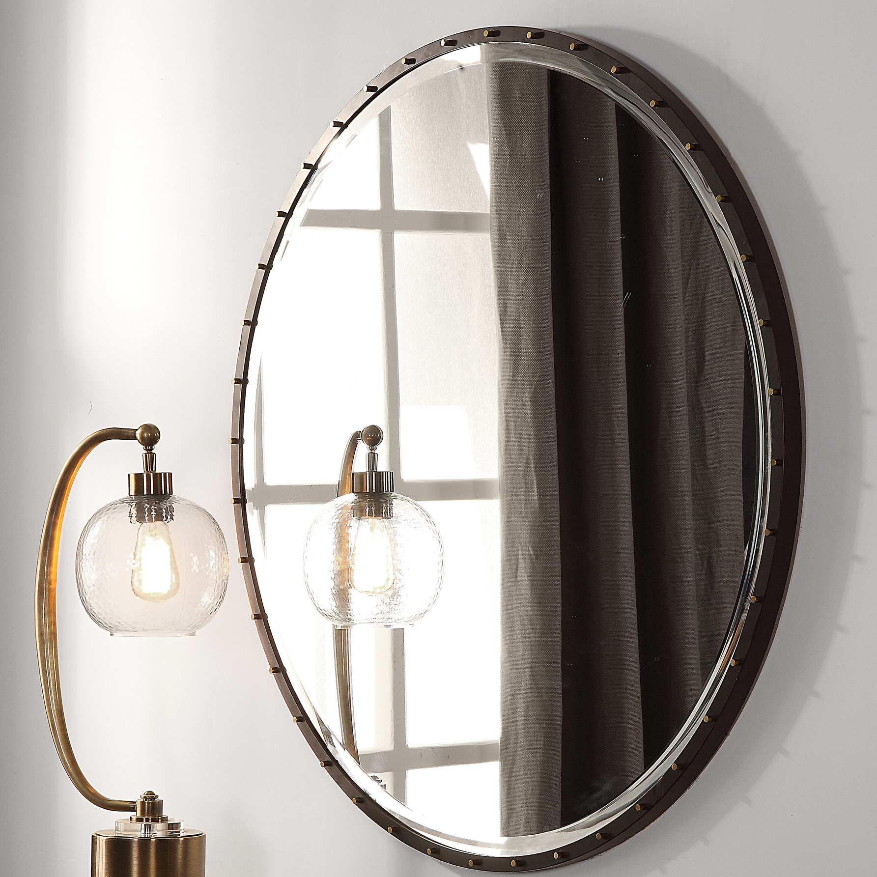 Rayshawn Round Accent Mirror Throughout Widely Used Austin Industrial Accent Mirrors (View 14 of 20)