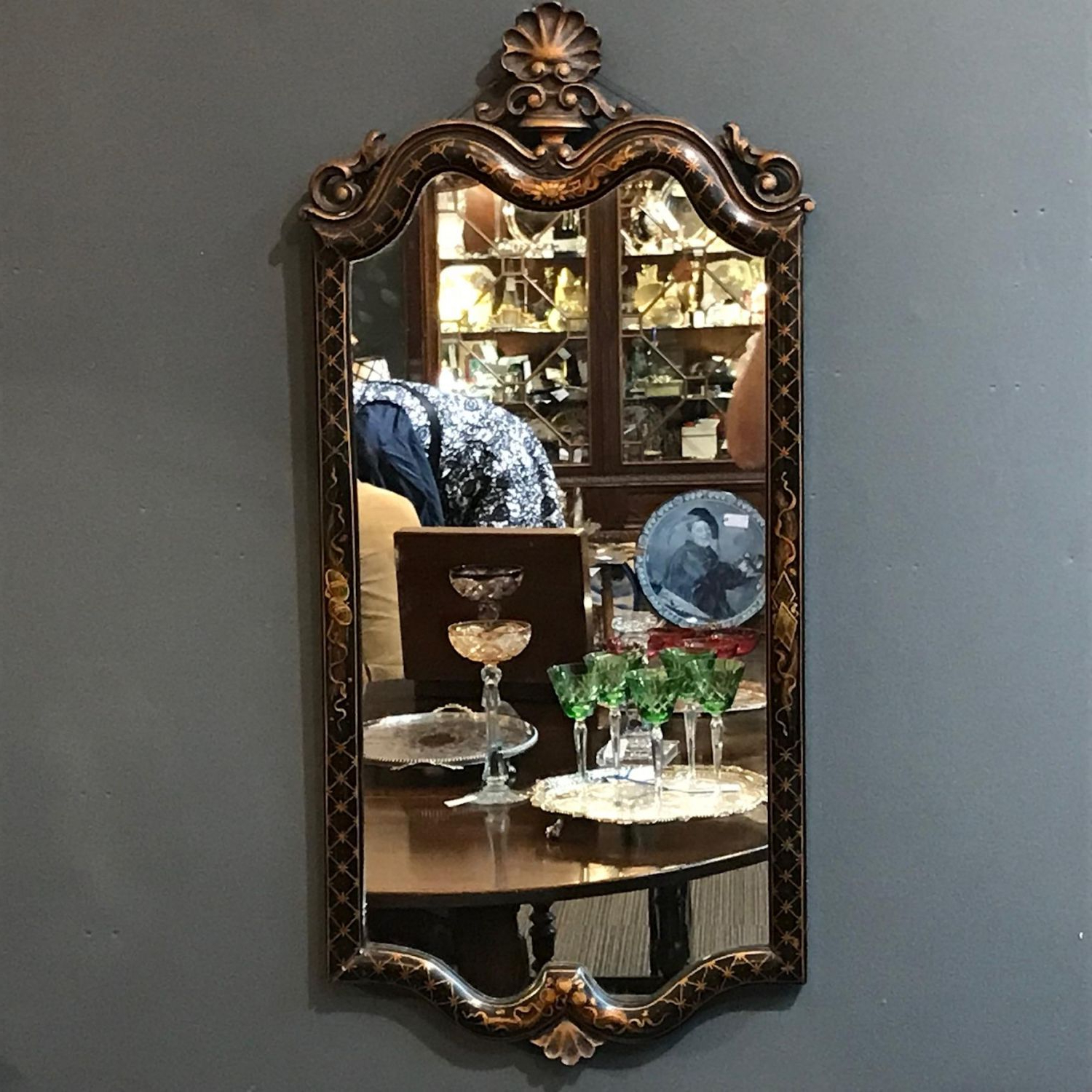 Recent 19th Century Hand Painted Ebonised Wall Mirror In Hand Painted Wall Mirrors (View 13 of 20)