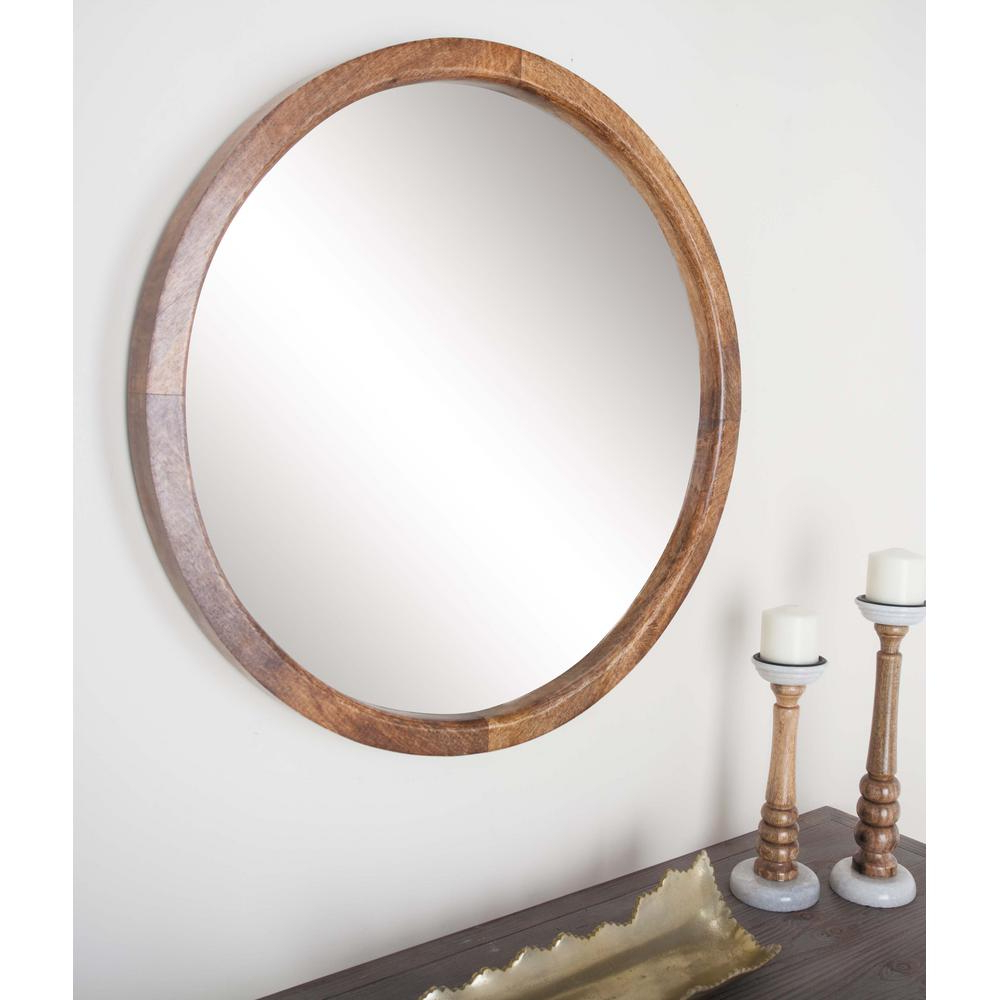 Recent 30 In. Round Natural Brown Framed Wall Mirror In 2019 (Gallery 14 of 20)