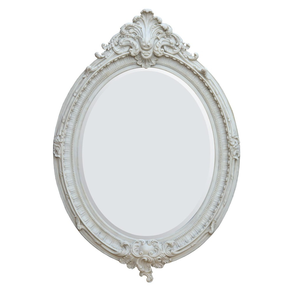 Recent Almandine French Rococo Antique Marbeline Leaf Oval Large Mirror Regarding White Oval Wall Mirrors (View 14 of 20)