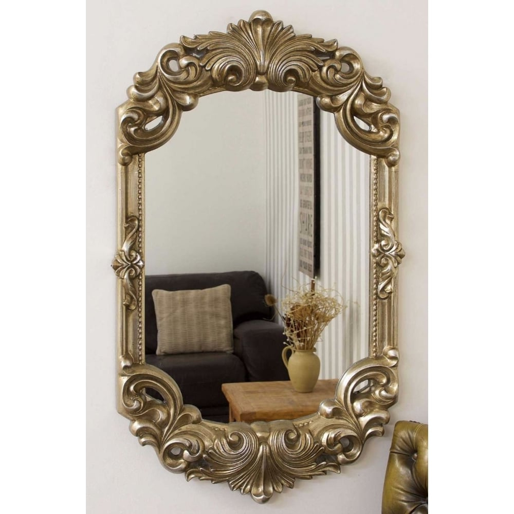 Recent Antique Silver Wall Mirrors Intended For Hardy Antique Silver Rococo Design Wall Mirror (View 12 of 20)