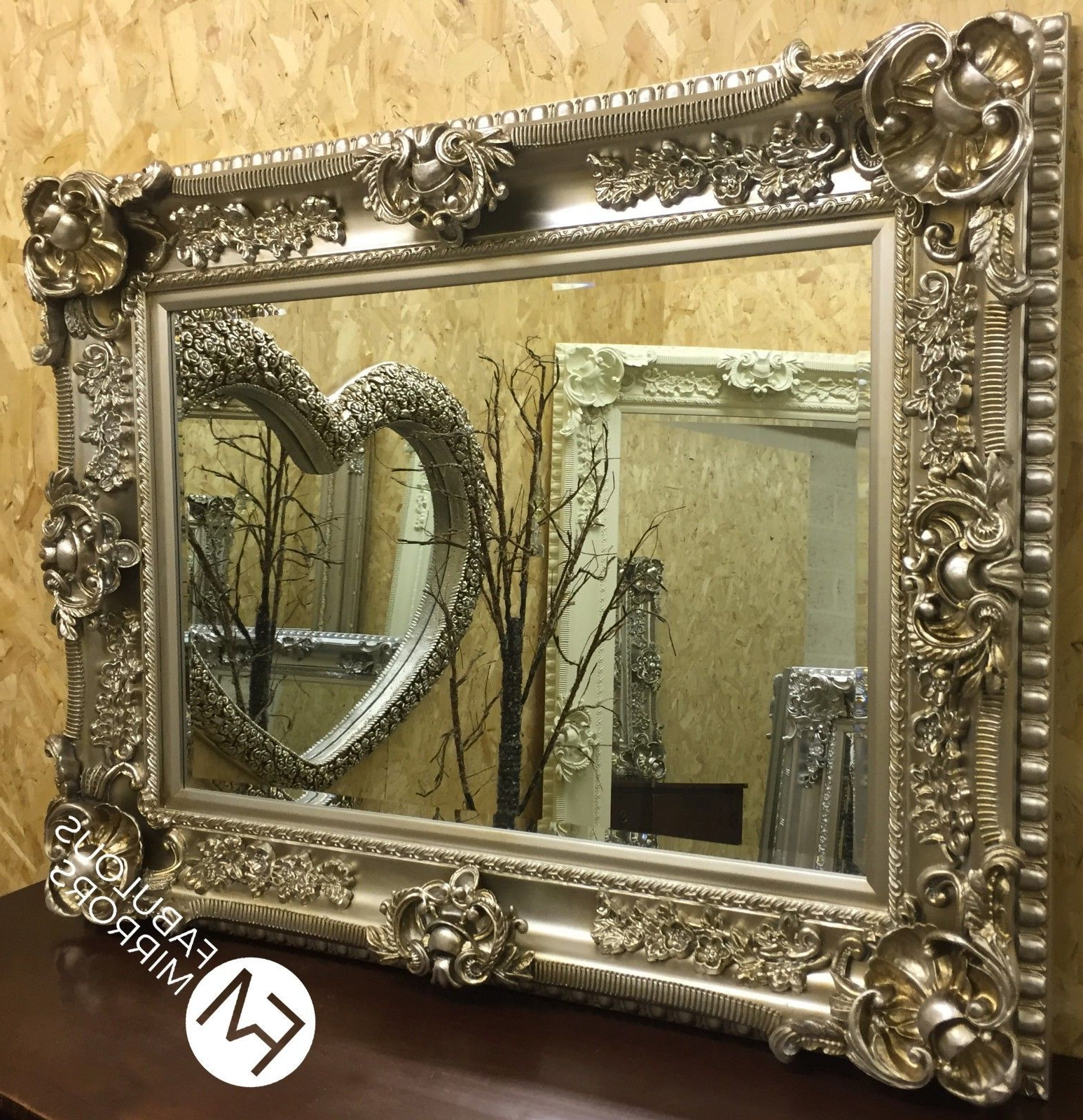 Recent Antique Silver Wall Mirrors Throughout Huge Antique Silver Ornate Regal Chunky Wall Mirror – Rrp £449 – Valentina (Gallery 19 of 20)