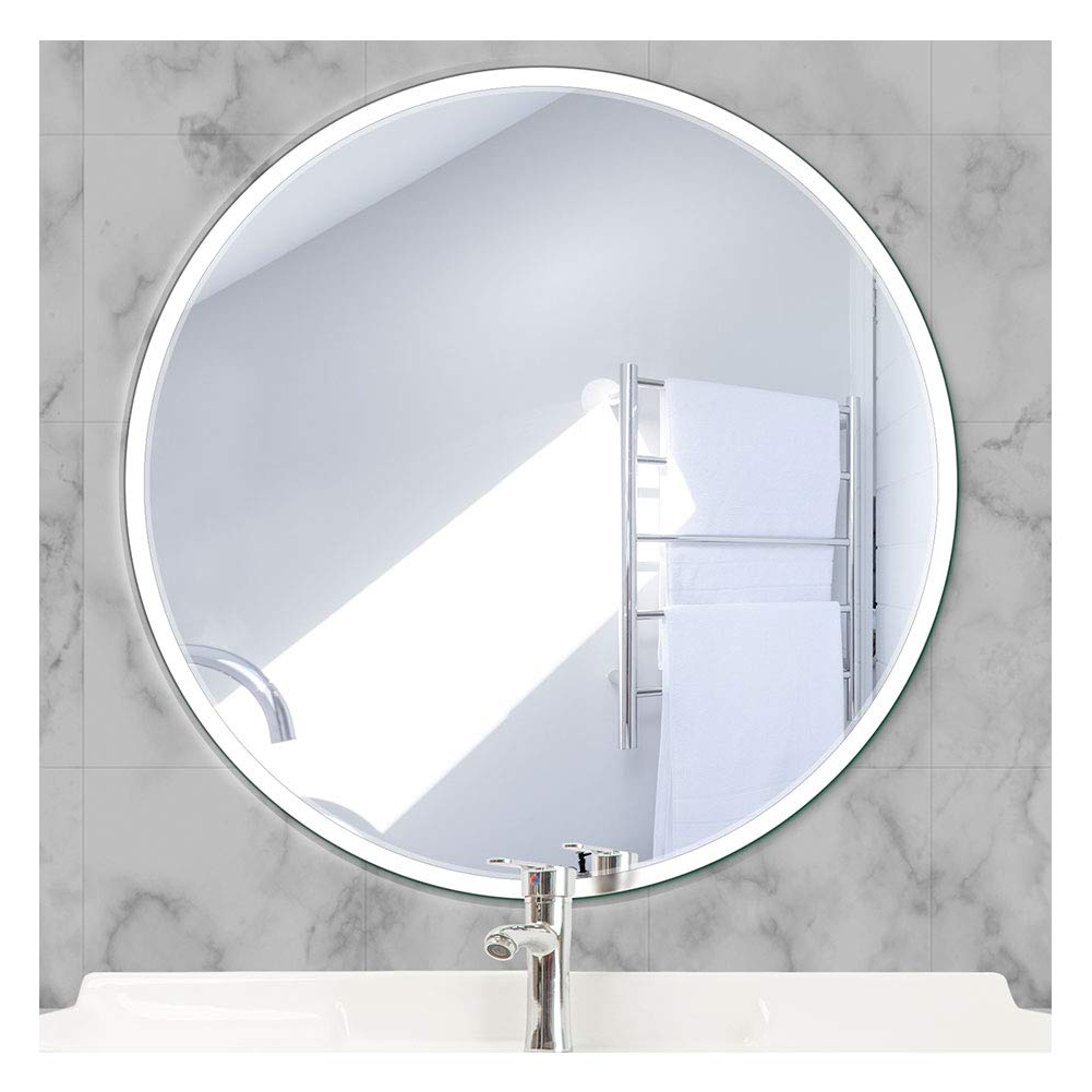 Recent Beauty4U Round Frameless Mirrors – 19.7Inch Diameter Beveled Wall Mirror Hd  Vanity Make Up Mirror Tiles For Wall Décor Regarding Frameless Round Wall Mirrors (Gallery 1 of 20)