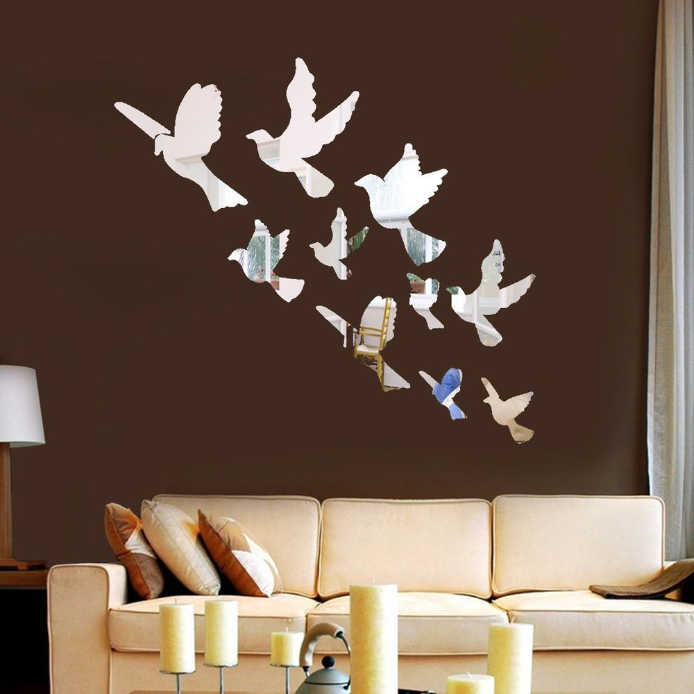 Recent Bird Wall Mirrors Pertaining To 3d Mirror Effect Birds Acrylic Removable Wall Sticker Decal Home Diy (View 6 of 20)