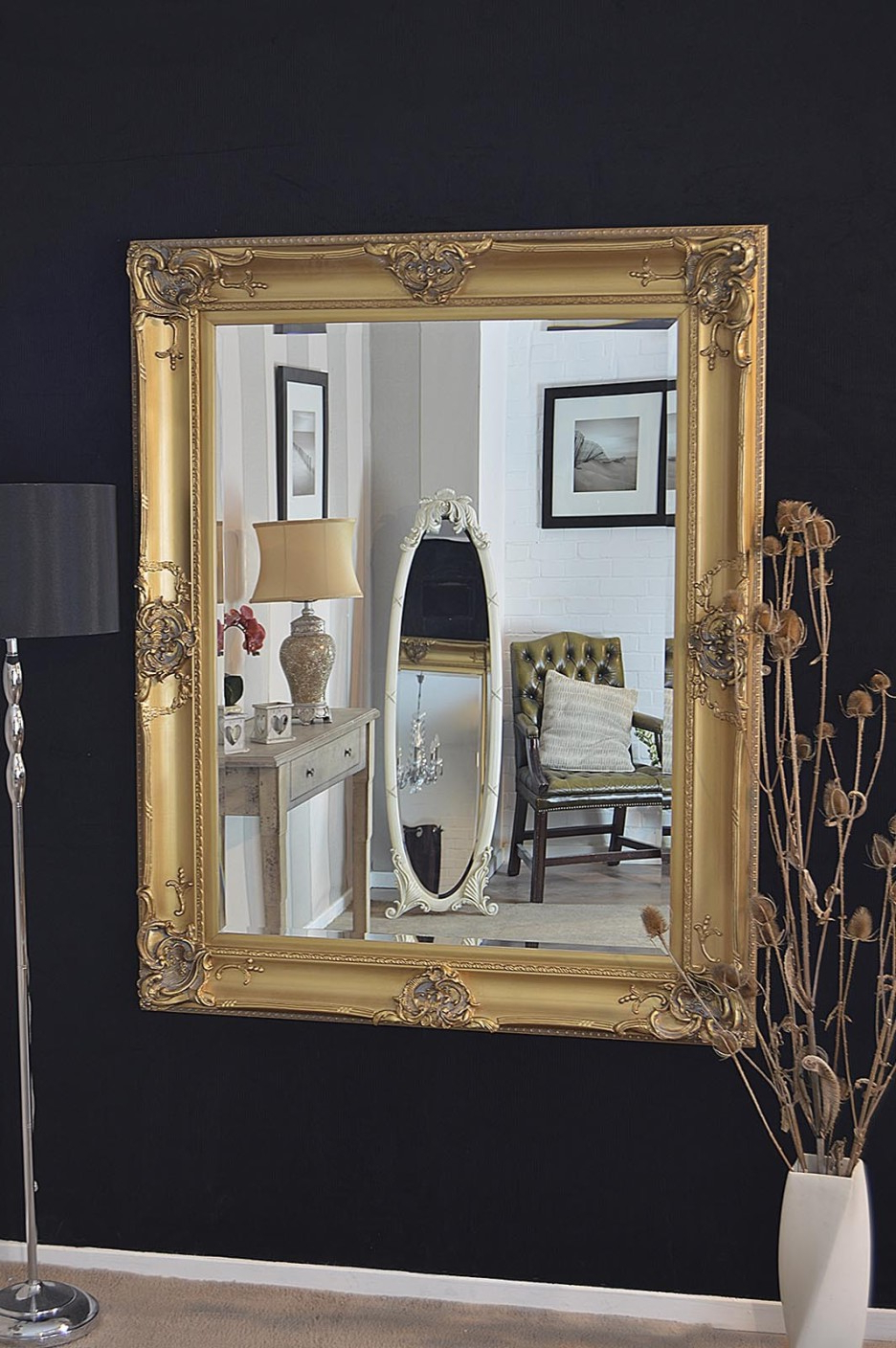 Recent Black And Gold Wall Mirrors With Mirrors Amazing Large Gold Wall Mirror Antique Framed Floor Round (View 5 of 20)