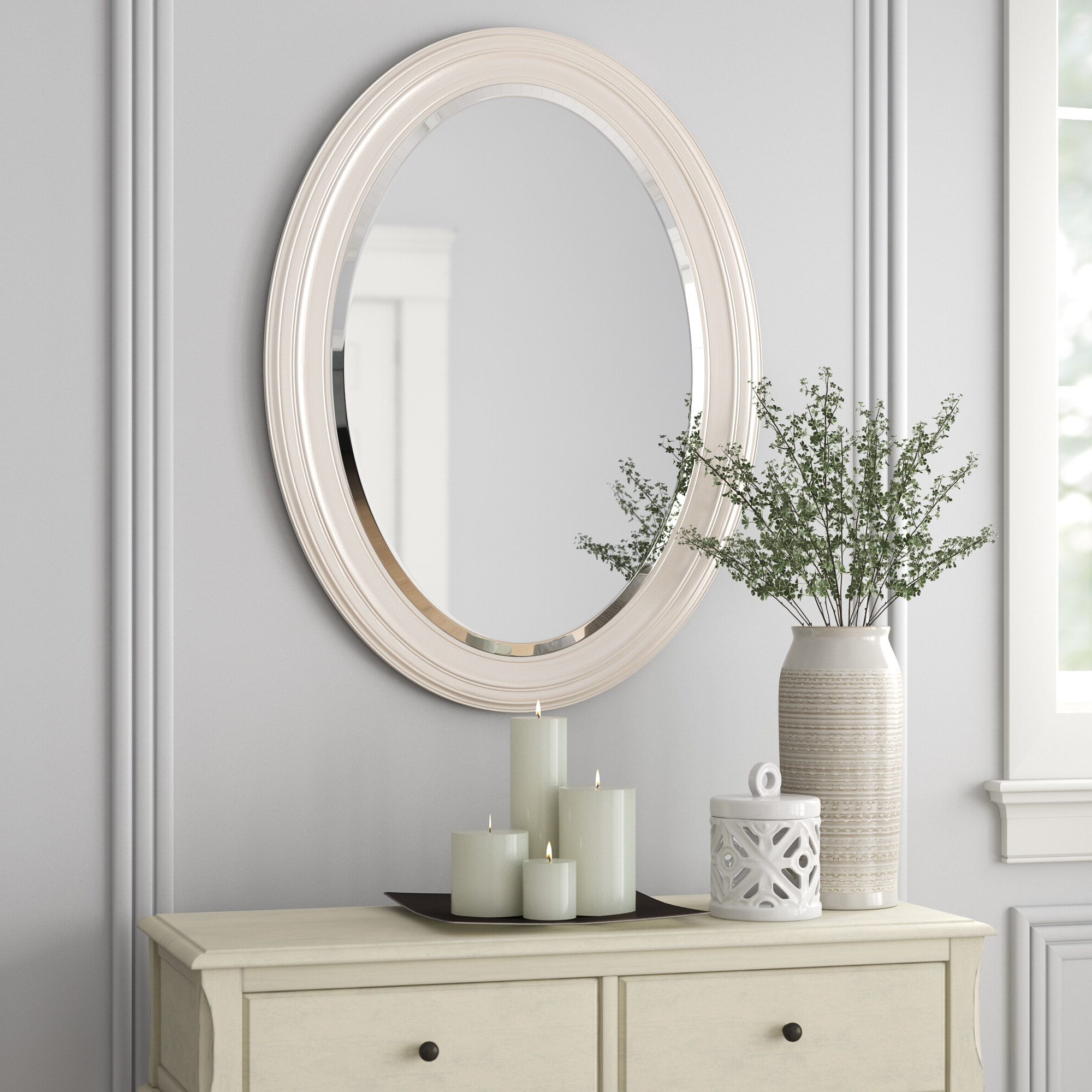 Recent Burnes Oval Traditional Wall Mirrors Intended For Pfister Oval Wood Wall Mirror (View 7 of 20)