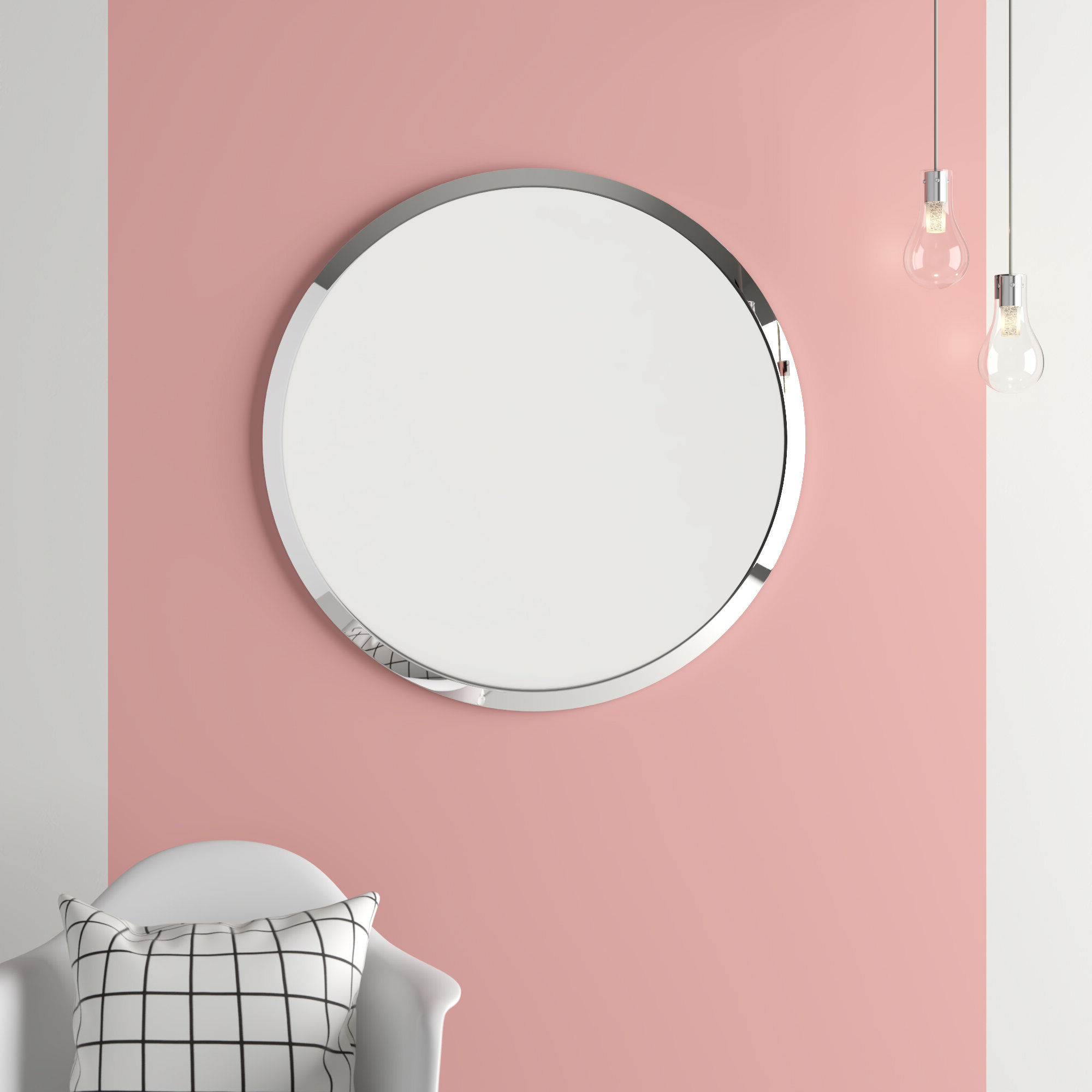 Recent Celeste Frameless Round Wall Mirror With Regard To Frameless Round Wall Mirrors (View 18 of 20)