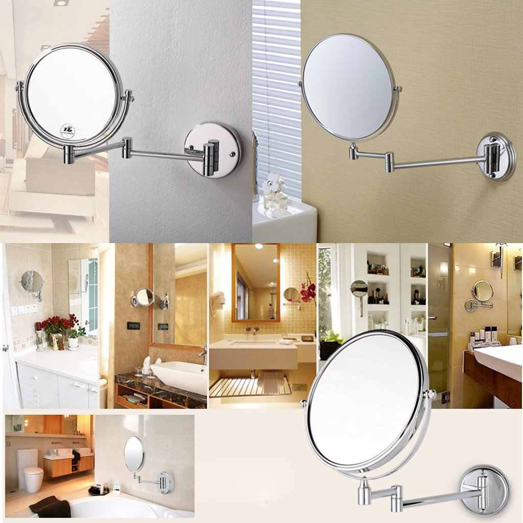 "Recent Chrome Round 8"" Wall Mirror Vanity Cosmetic Mirror Double Sided 7X  Magnifying Mirrors Bathroom Makeup 360 Angle Swivel Mirrors For Makeup Wall Mirrors (Gallery 14 of 20)"