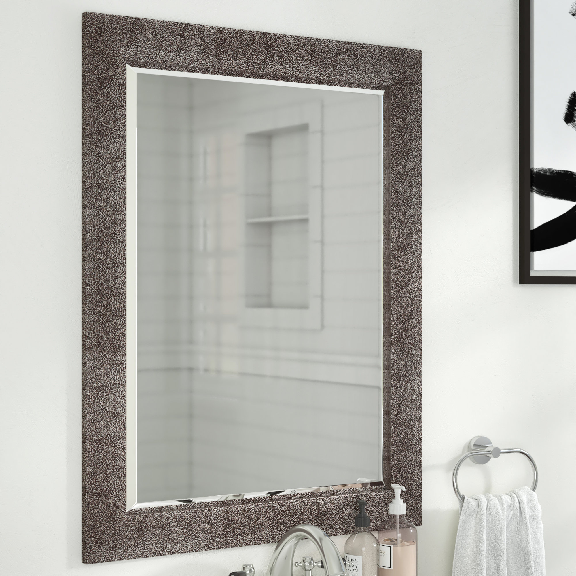 Recent Crackled Antique Traditional Beveled Accent Mirror In Traditional Beveled Accent Mirrors (View 9 of 20)