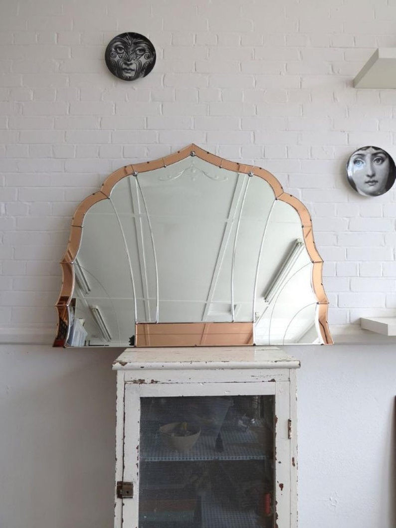 Recent Extra Large Bevelled Edge Wall Mirrors Inside Vintage Extra Large Art Deco Bevelled Edge Wall Mirror Colored Panels  Overmantle (Gallery 13 of 20)