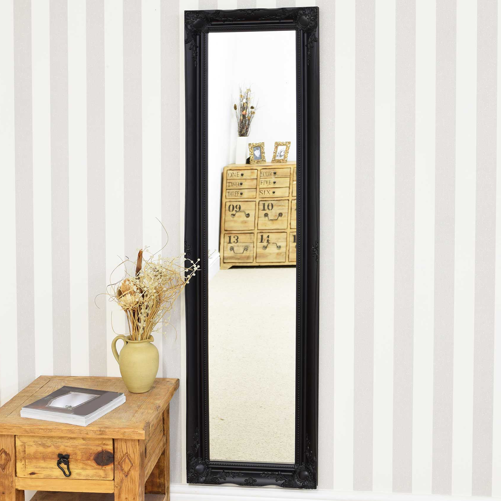 Recent Full Length Decorative Wall Mirrors Throughout Details About Large Wall Mirror 5Ft6 X 1Ft6 Black Full Length Classic  Ornate Decorative (Gallery 10 of 20)
