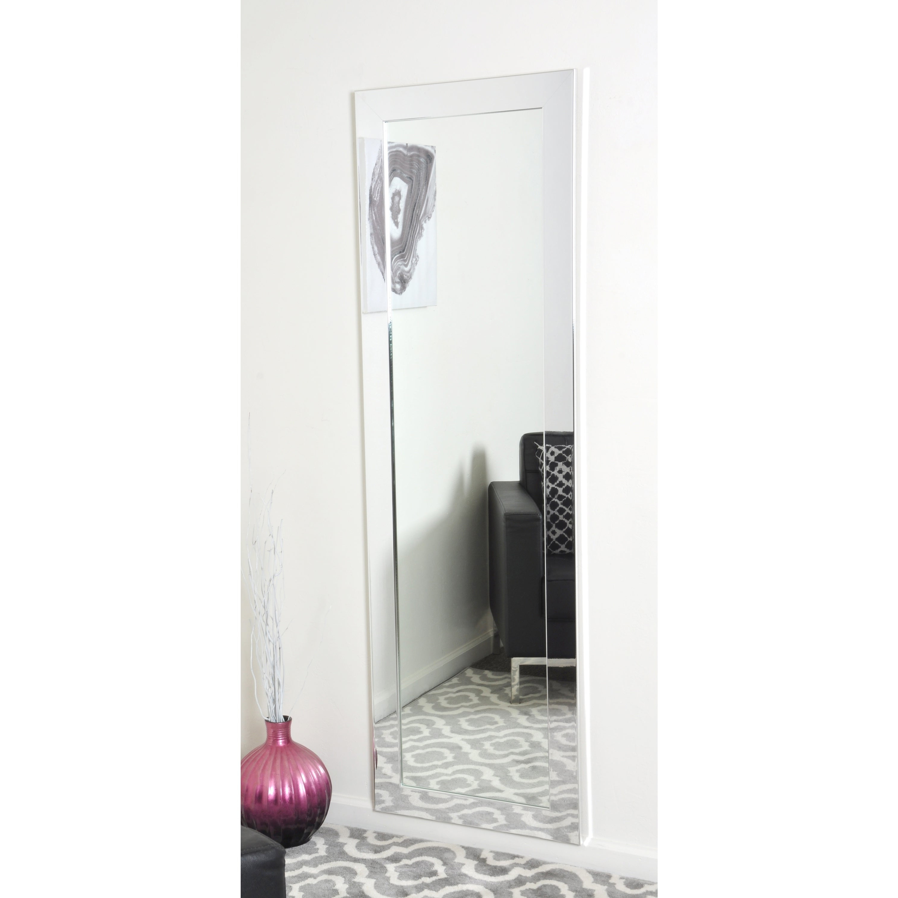 Recent Full Length Wall Mirrors Intended For Brandtworks Slim Sleek Chrome Full Length Wall Mirror (View 15 of 20)