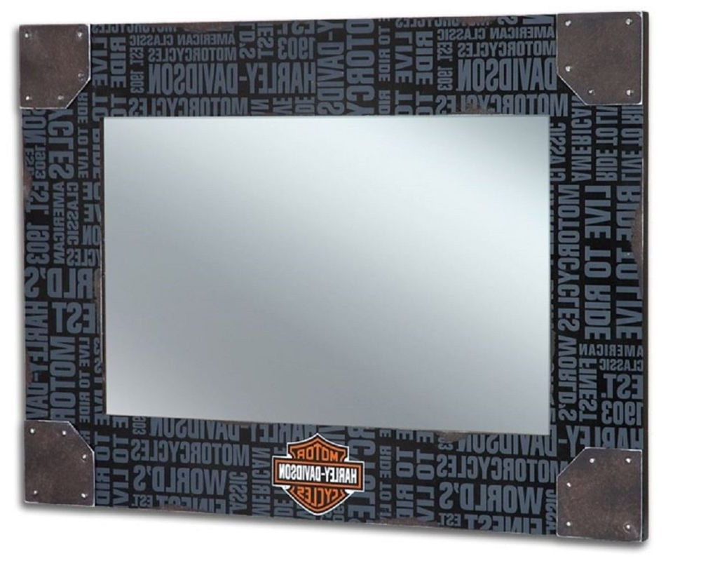 Recent Harley Davidson Wall Mirrors Within Harley Davidson® Large Block Script Words, Distressed Wood Frame (View 20 of 20)