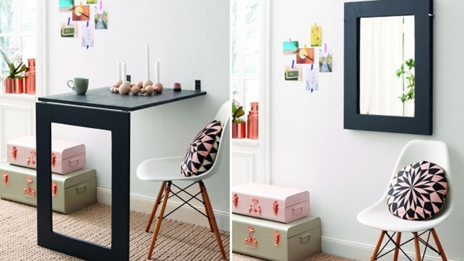 Recent Hinged Wall Mirrors Inside This Diy Desk Saves Space, Folds Up Into A Wall Mirror When Not In Use (View 16 of 20)